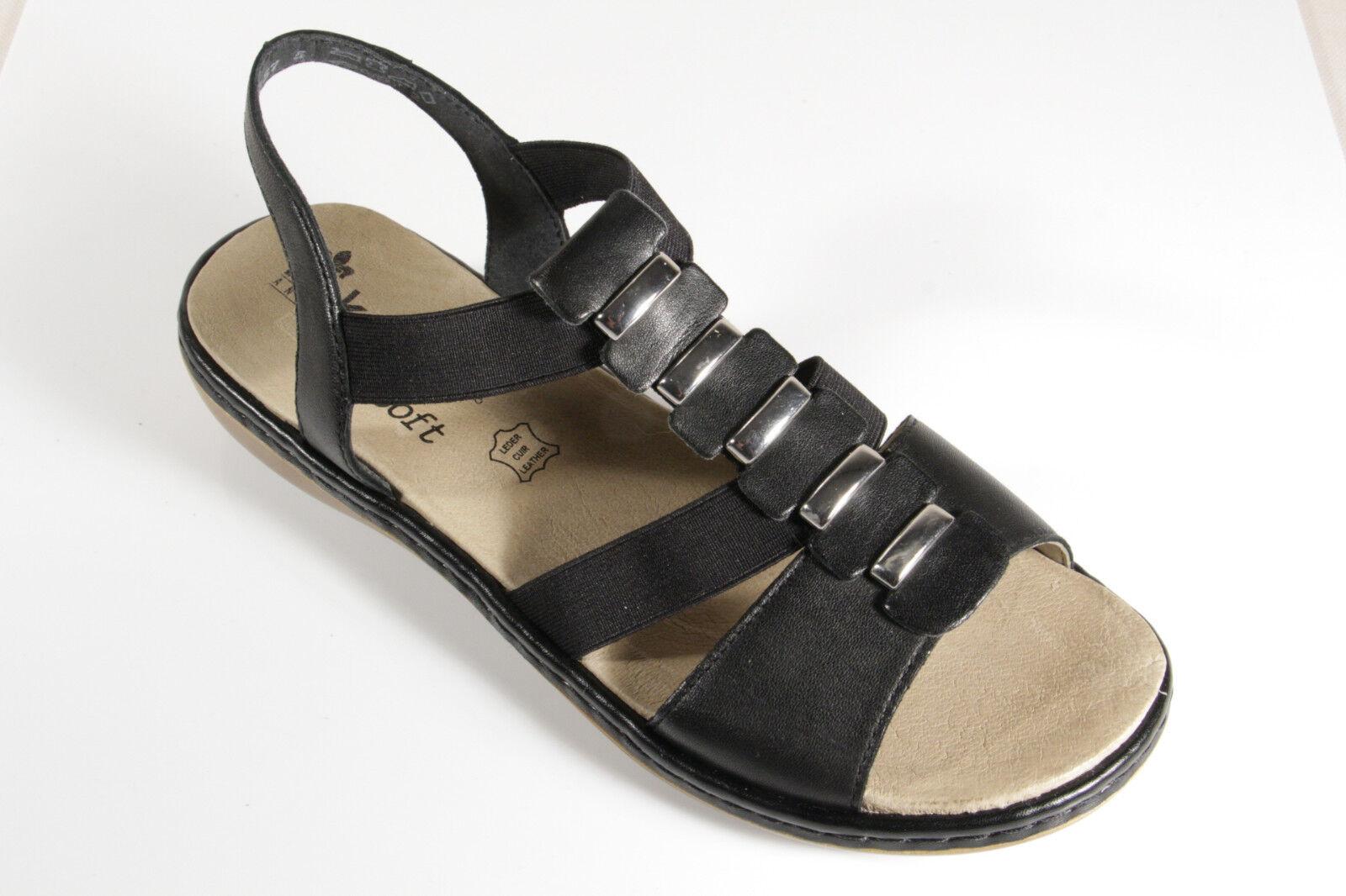 Rieker Damen Sandalen Sandaletten schwarz Fußbett Echtleder QNQtS