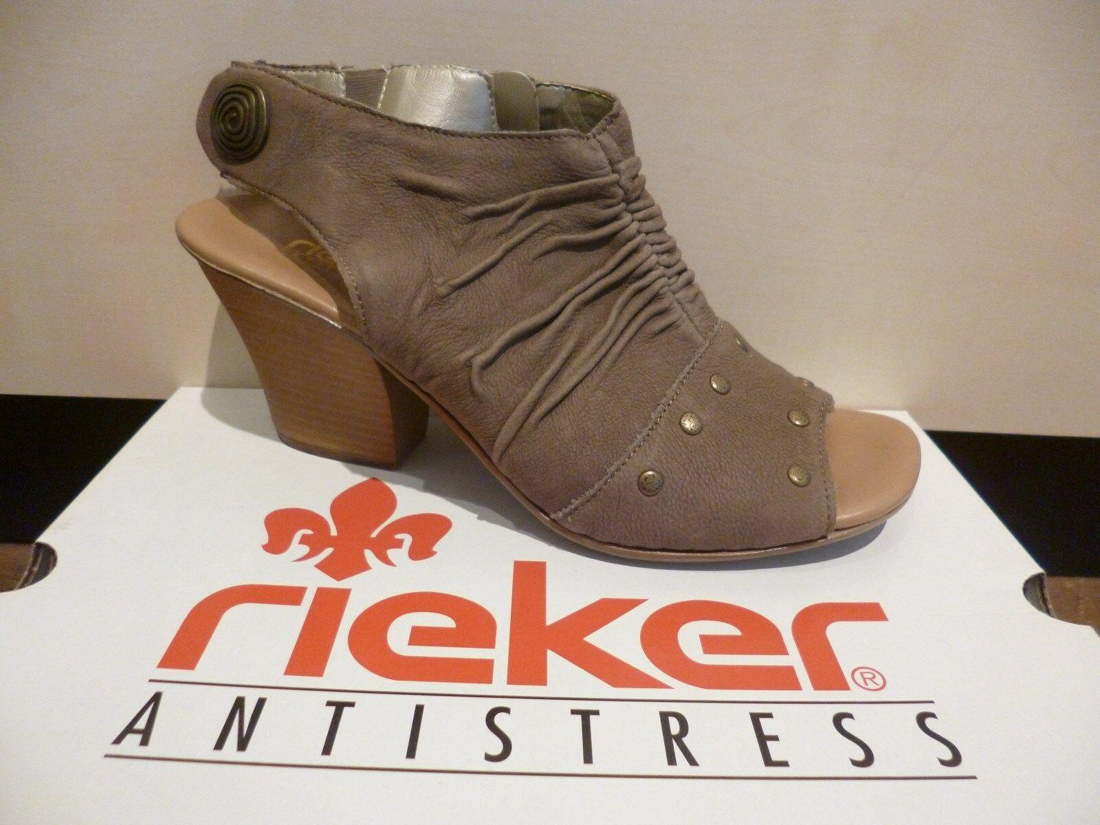 Rieker Damen Sandale beige braun weiche Innensohle, RV NEU