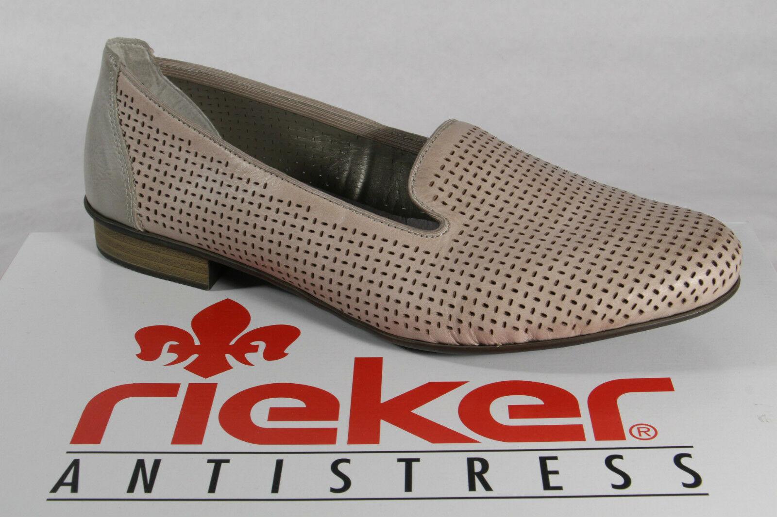 Rieker Slipper 51977 Ballerina Pumps weiche Lederinnensohle grau Leder NEU