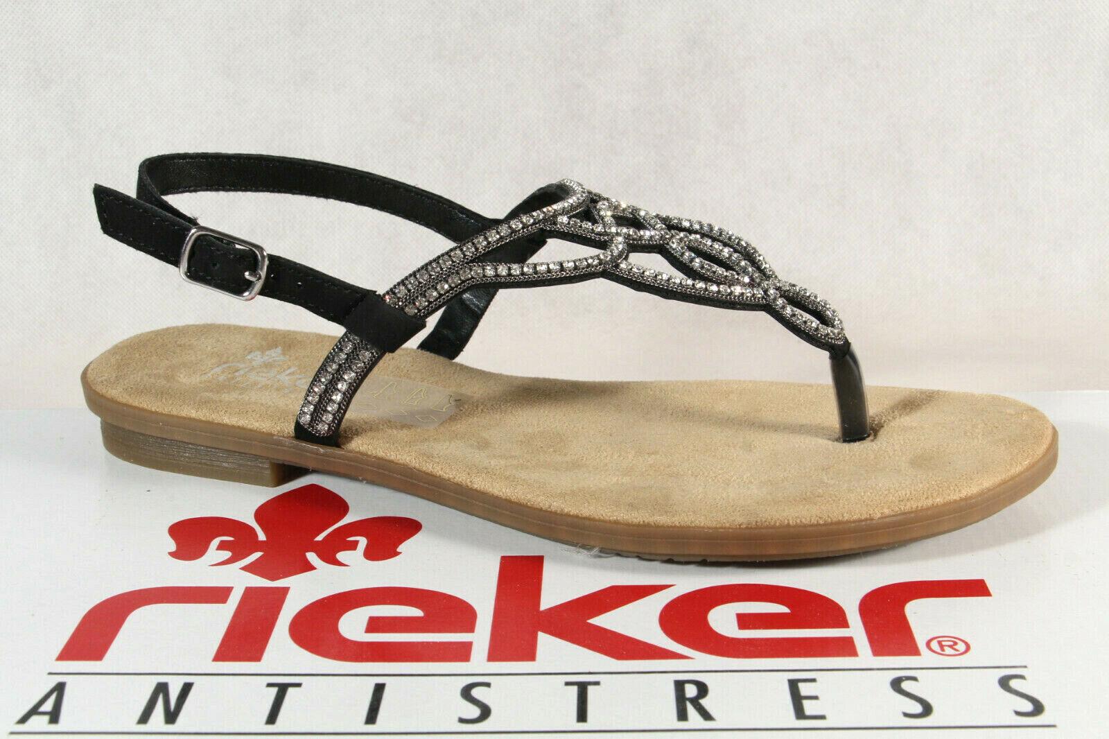 Rieker Antistress Damen Zehenstegsandale Sandale Gummisohle schwarz 65107 NEU