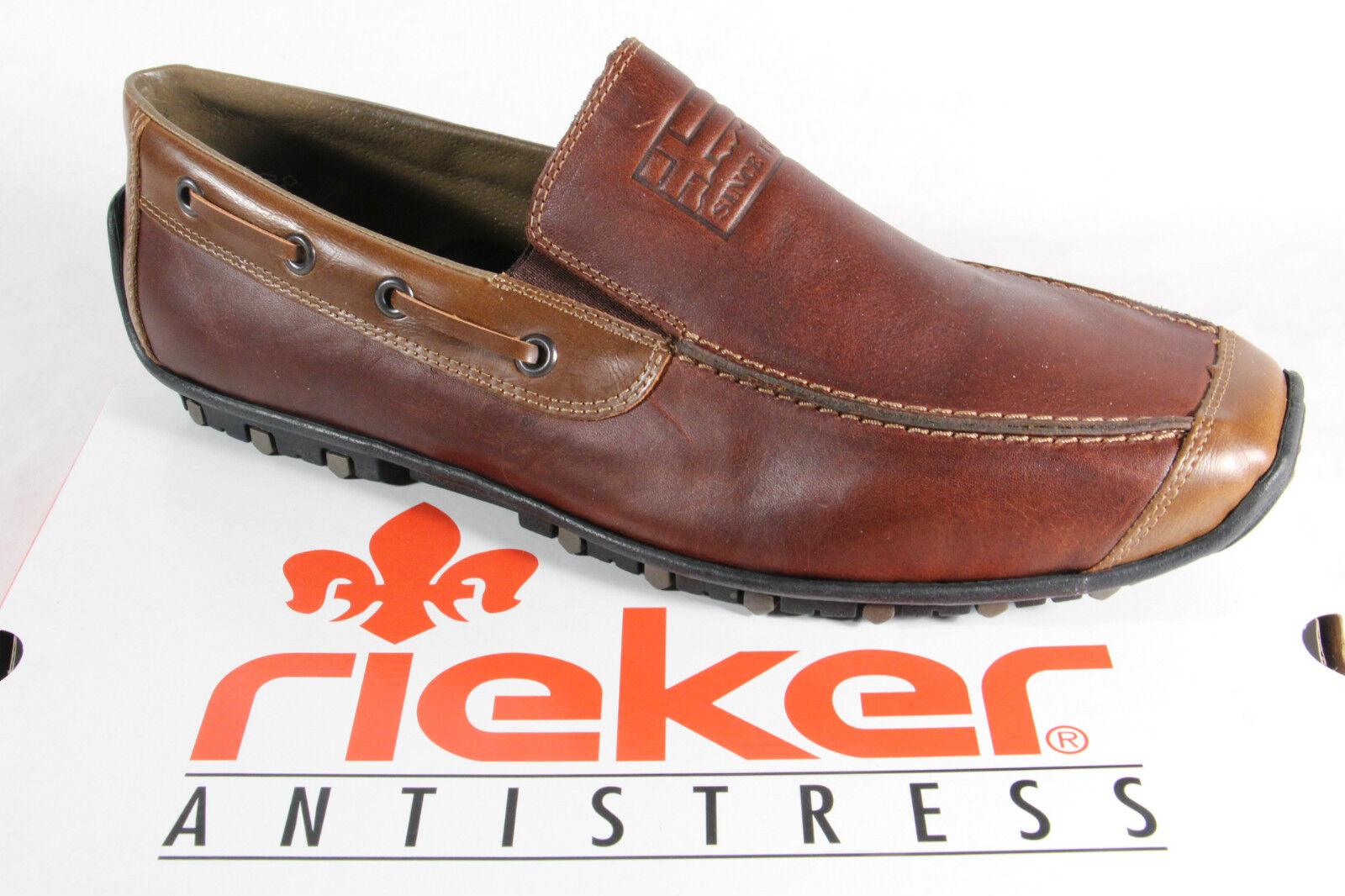 Rieker Herren Slipper Sneakers Halbschuhe braun Echtleder
