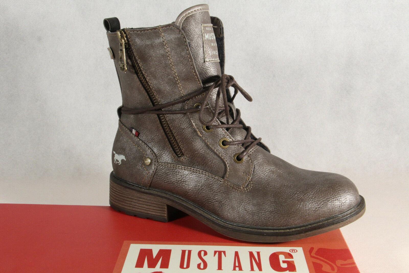 Mustang Stiefel Stiefel Stiefeletten Schnürstiefel Stiefel Stiefel braun metallic 1264 NEU  516436