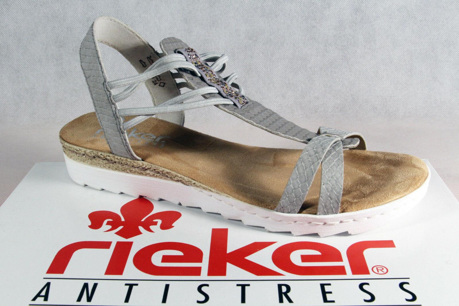 Rieker Damen Sandalen Sandaletten Sandale grau 63029 NEU