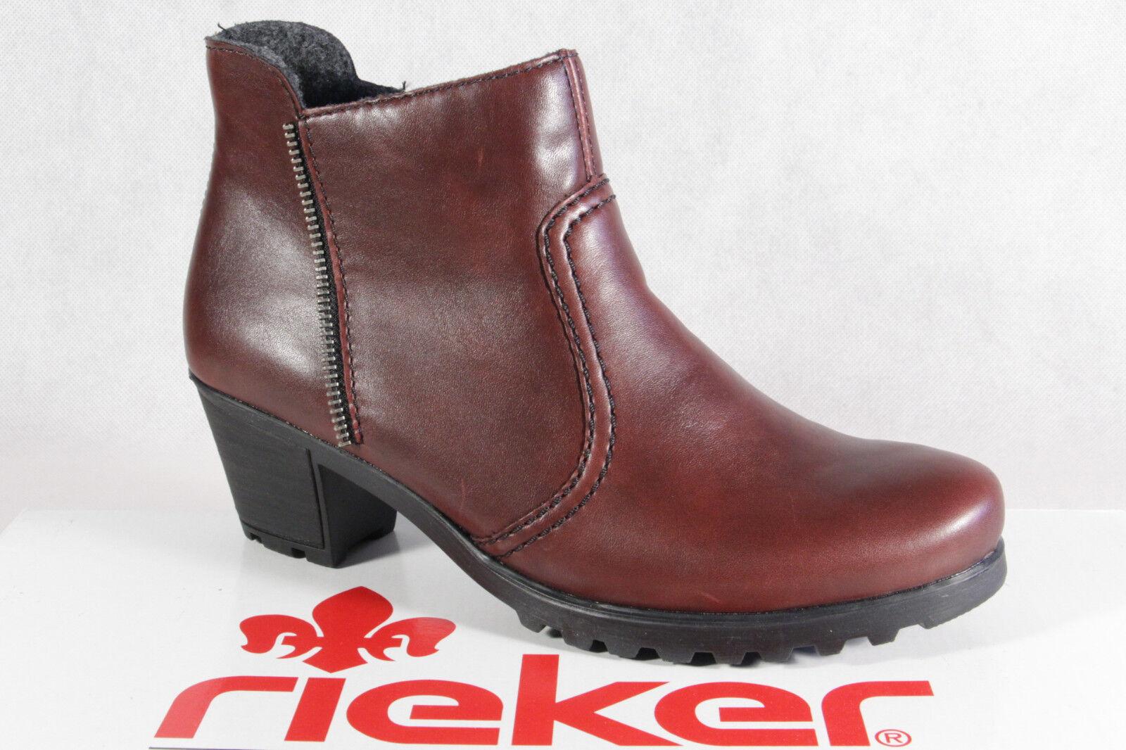 Rieker Damen Stiefel Stiefelette Boots rot Reißverschluß HFYle