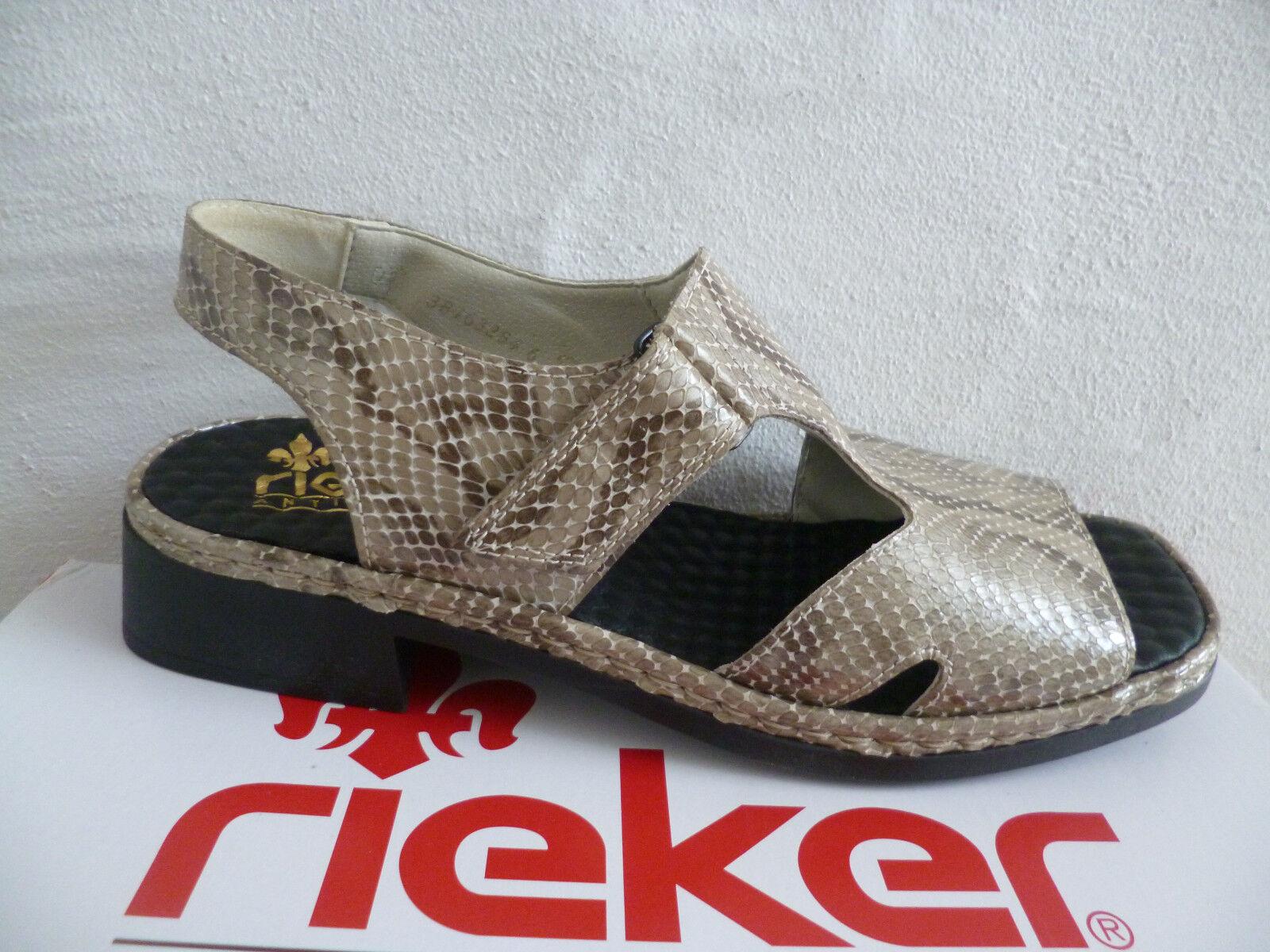 Rieker Damen Sandale Sandalette grau multi Krokoleder NEU