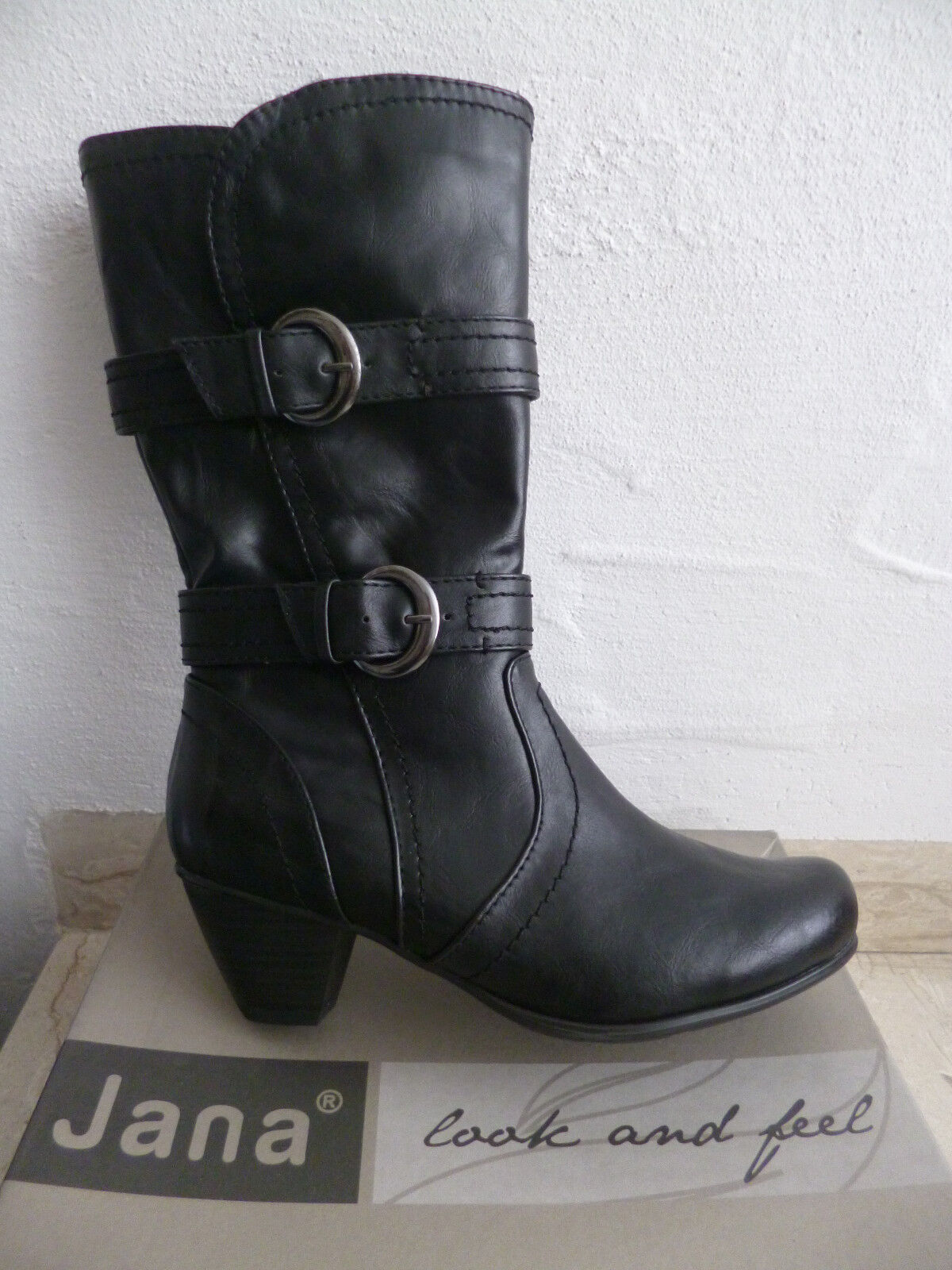 Jana Damen Stiefel Stiefeletten Stiefelette schwarz NEU