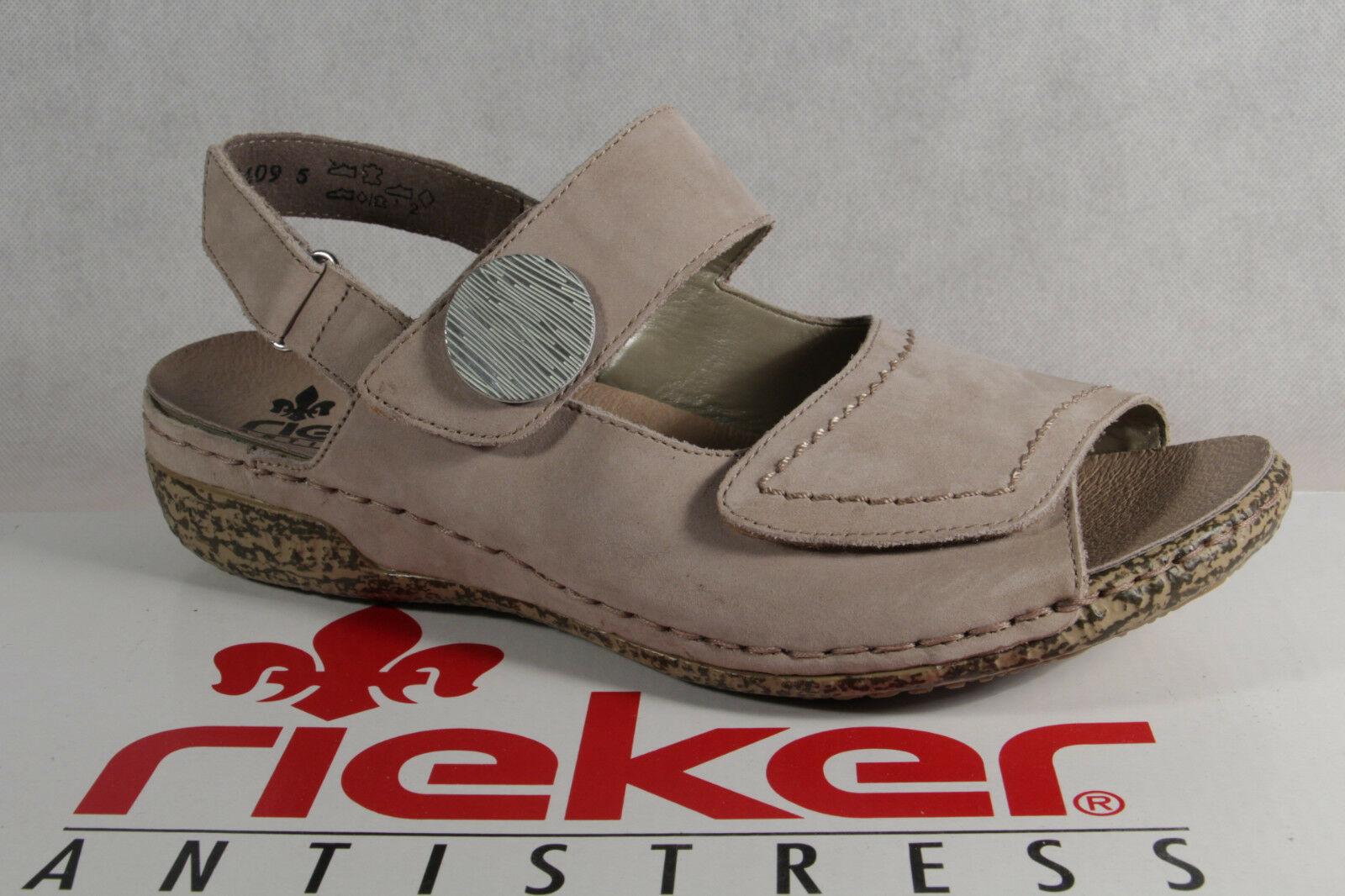 Rieker Damen Sandale Sandalette Sling beige Echtleder extra weit NEU