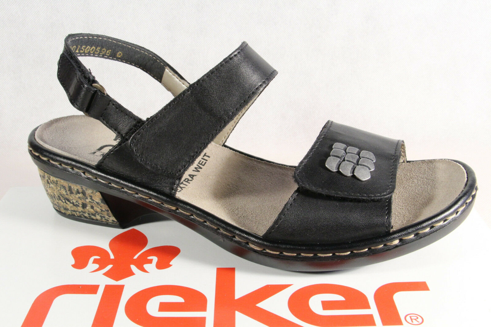 Rieker Damen Sandale Sandalette Sandalen schwarz 67162 Echtleder NEU