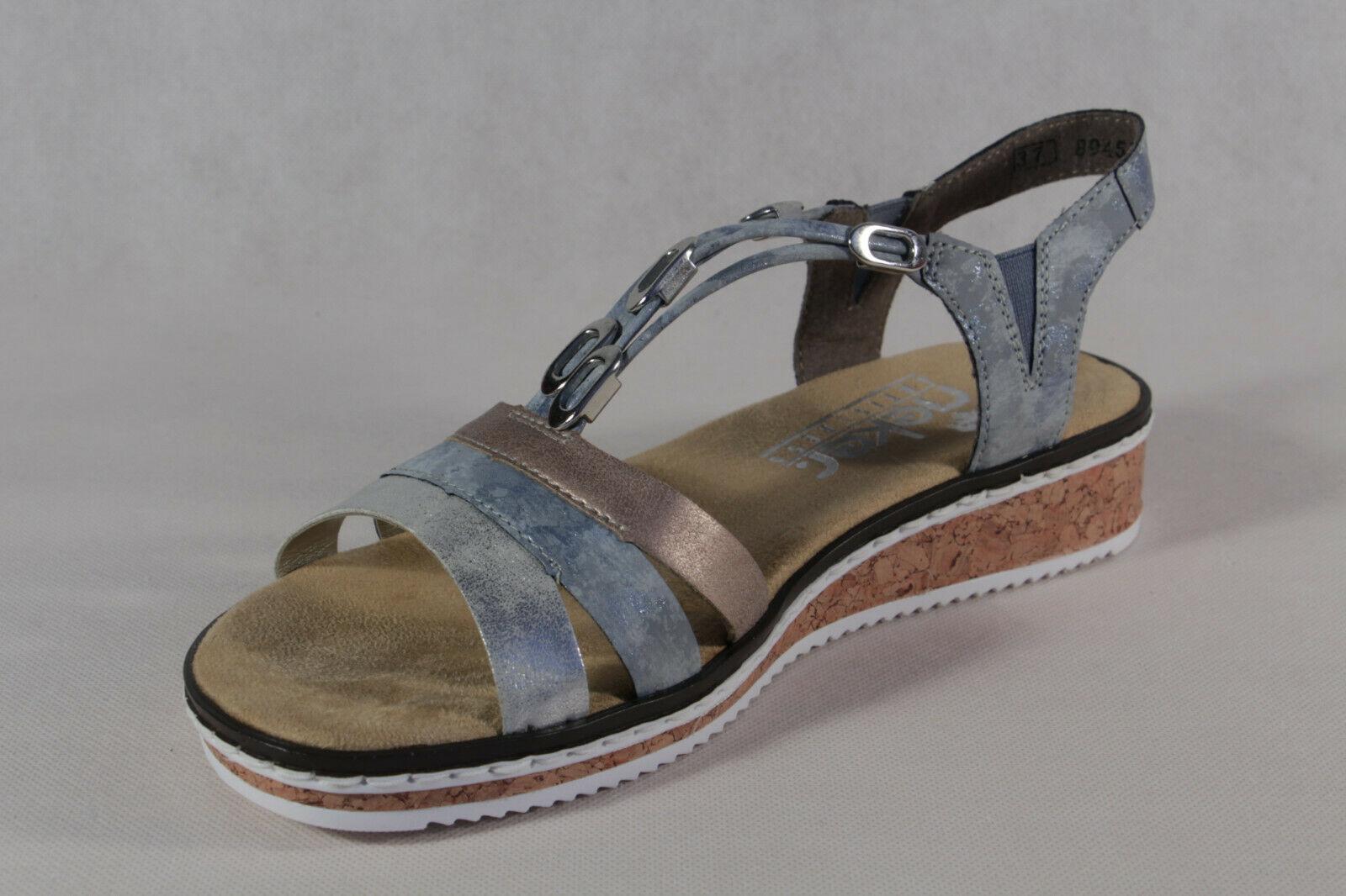 Rieker Damen Sandale Sandalen Sandalette Sandaletten blau V36G4 NEU!!