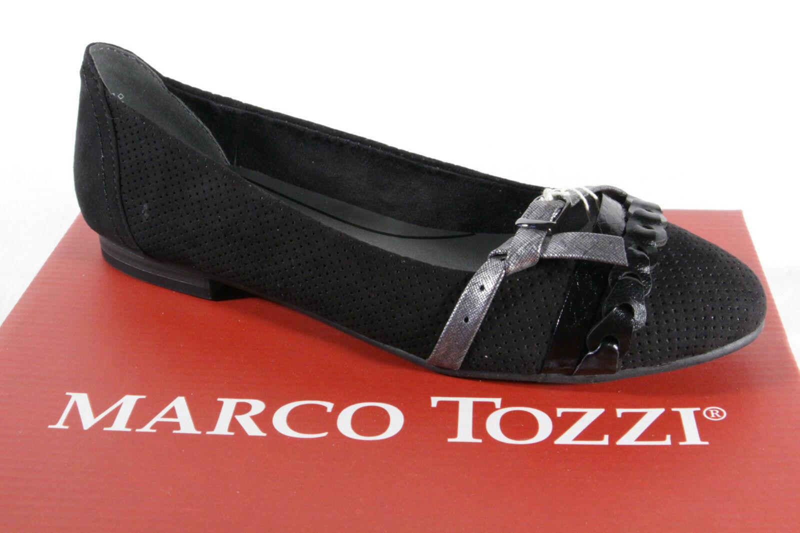 Gr Slipper MARCO TOZZI Ballerinas Damenschuhe schwarz Neu 38