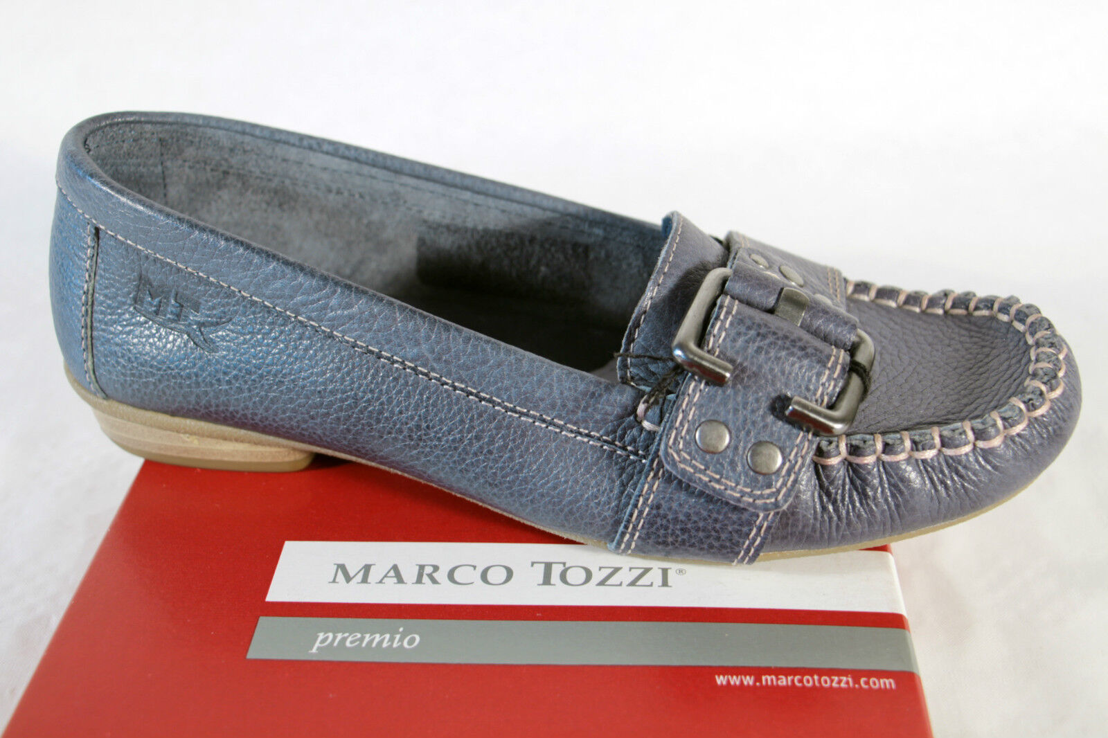 Marco Tozzi Damen Slipper Ballerina, blau Leder, weiche Lederinnensohle NEU