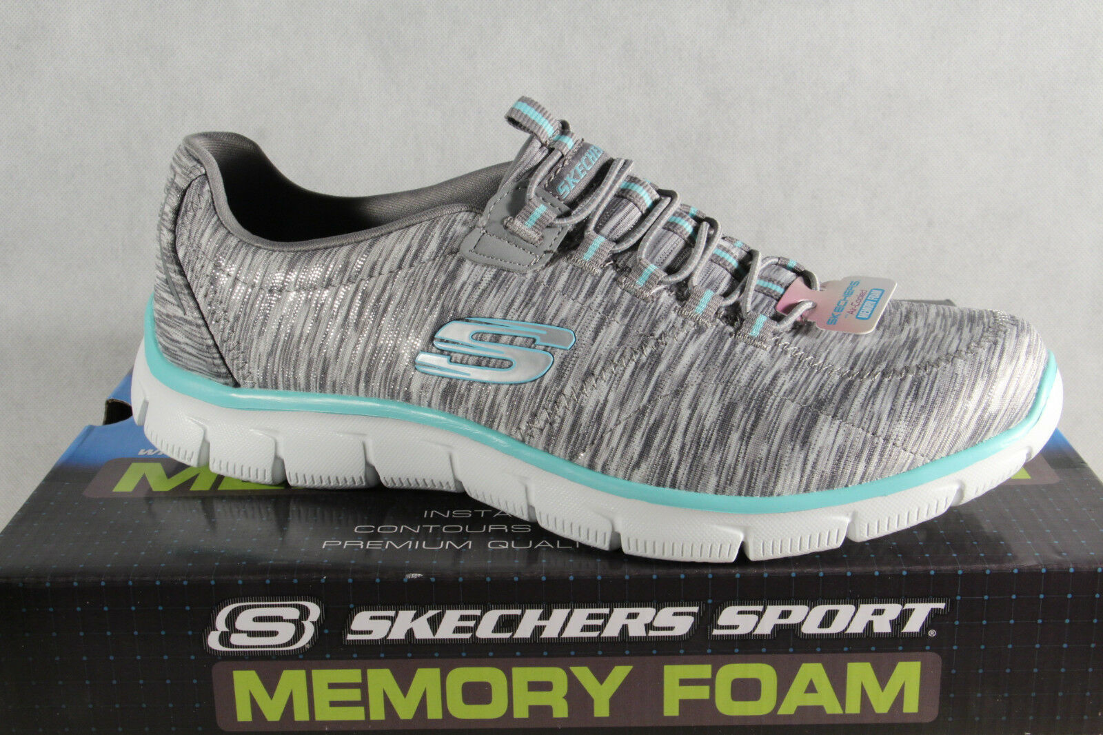 Skechers Slipper Sneakers Sportschuhe Air Cooled Memory Foam grau NEU!