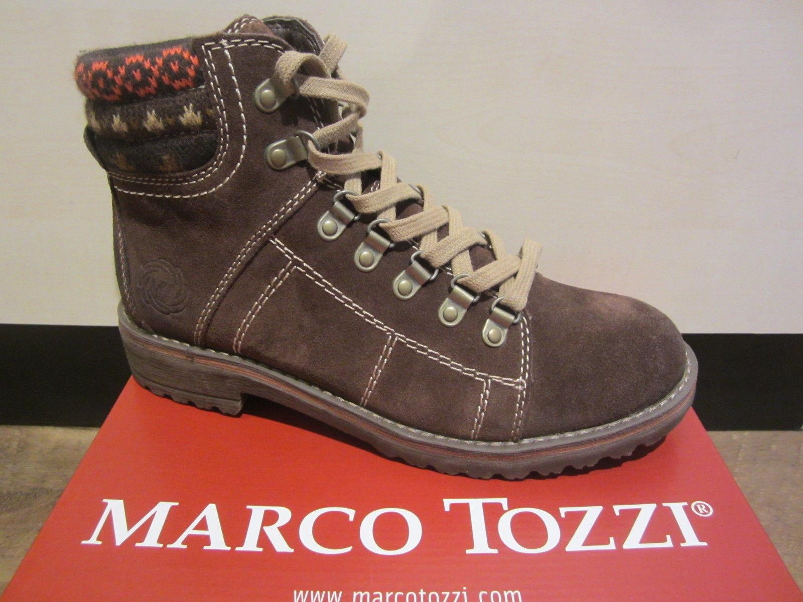 Marco Tozzi Stiefel zum Schnüren Leder braun warm gefüttert NEU!!