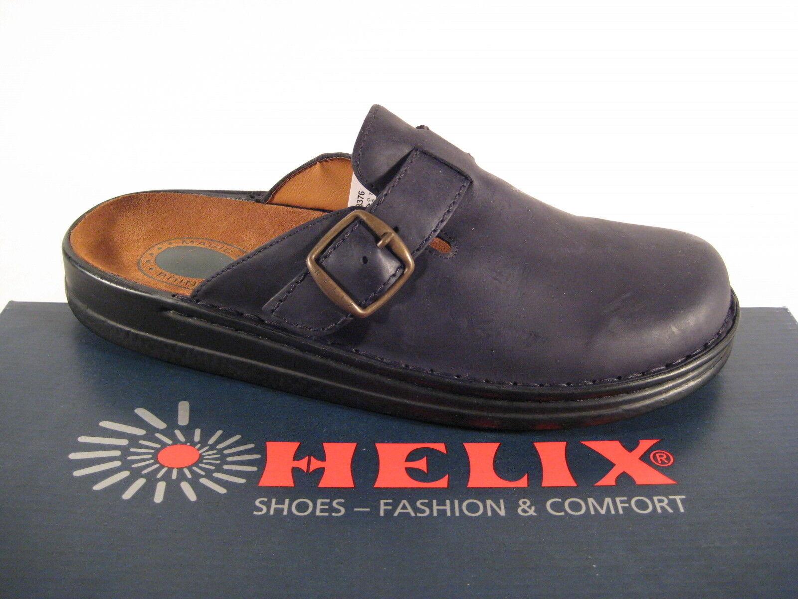 Helix Clogs Pantolette Pantoletten schwarz Echt Leder Luftpolster Lederfußbett