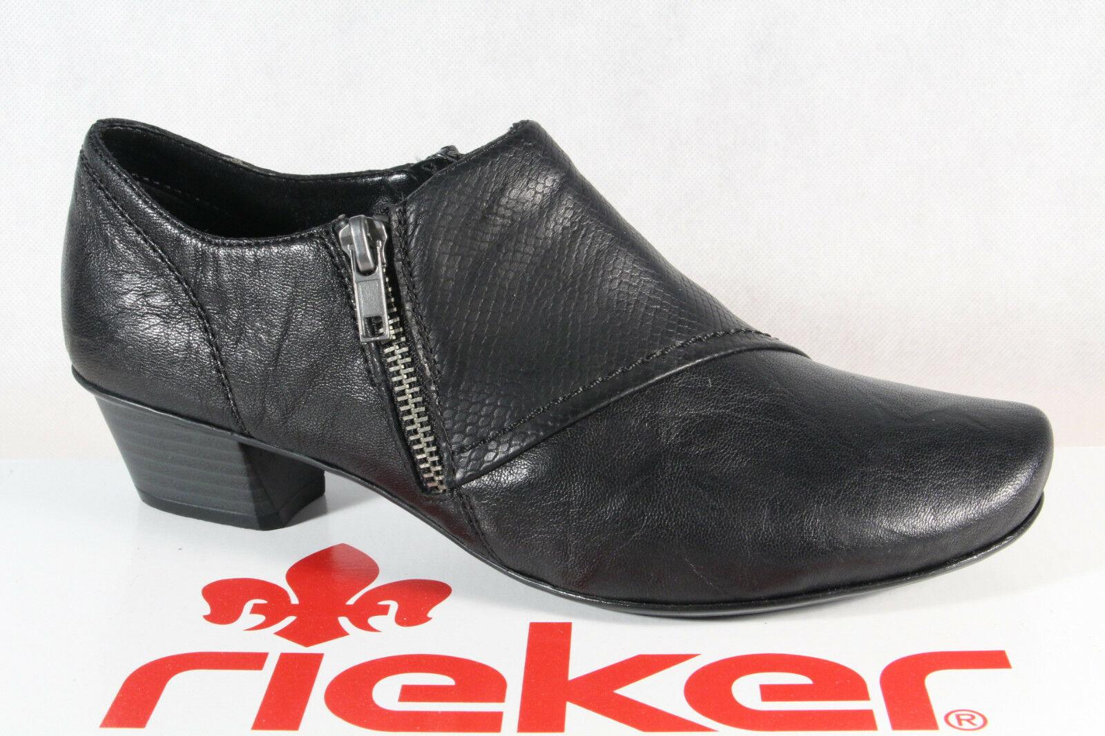 Rieker Damen Slipper Halbschuhe, Sneakers schwarz Echtleder