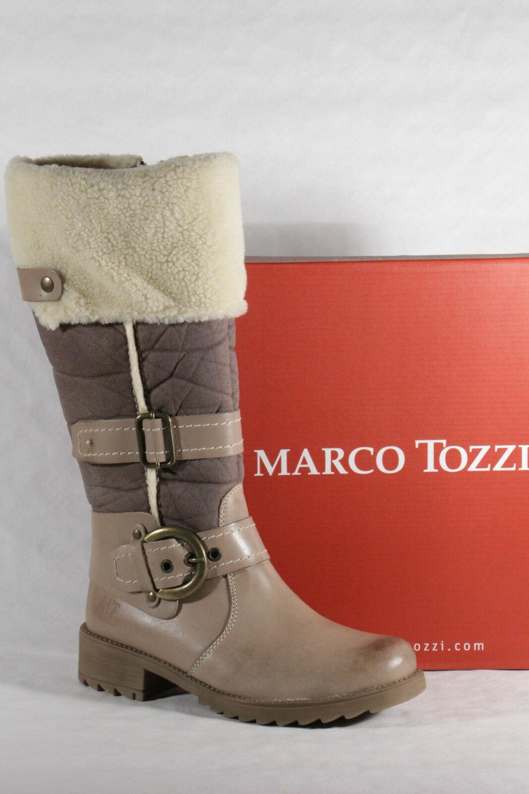 Marco Tozzi Damen Stiefel Stiefeletten Winterstiefel beige Echtleder Neu