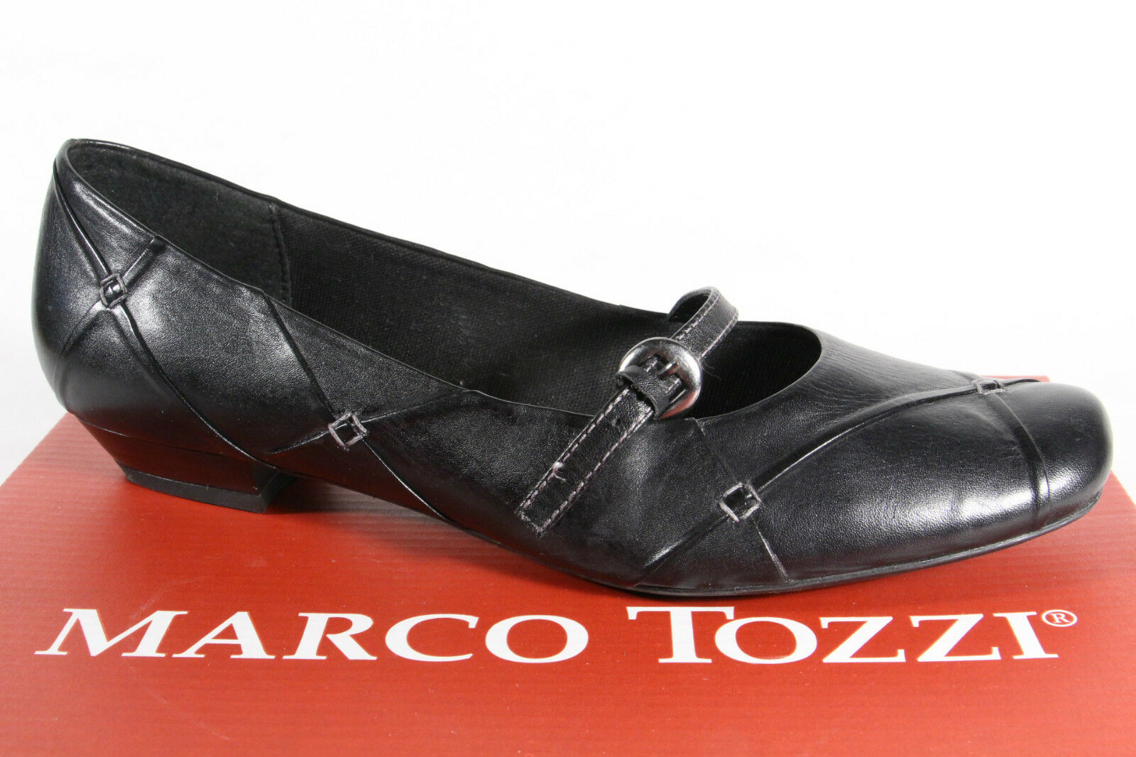 Marco Tozzi Ballerinas Slippers schwarz, Echtleder NEU