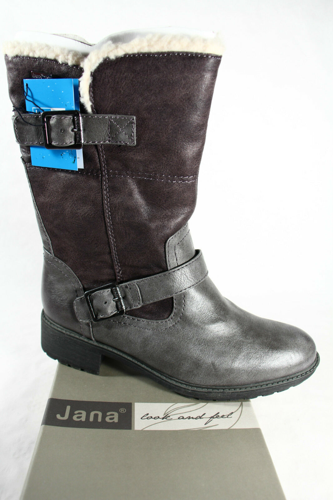 Jana Tex Stiefel, Winterstiefel, Stiefel grau, Warmfutter; Profilsohle RV26441 NEU