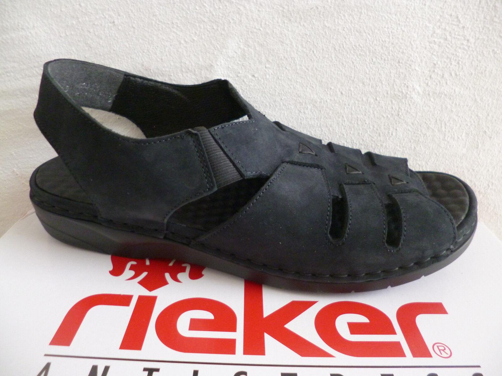 Rieker Damen Sandale Sandalette dunkelblau Echtleder NEU