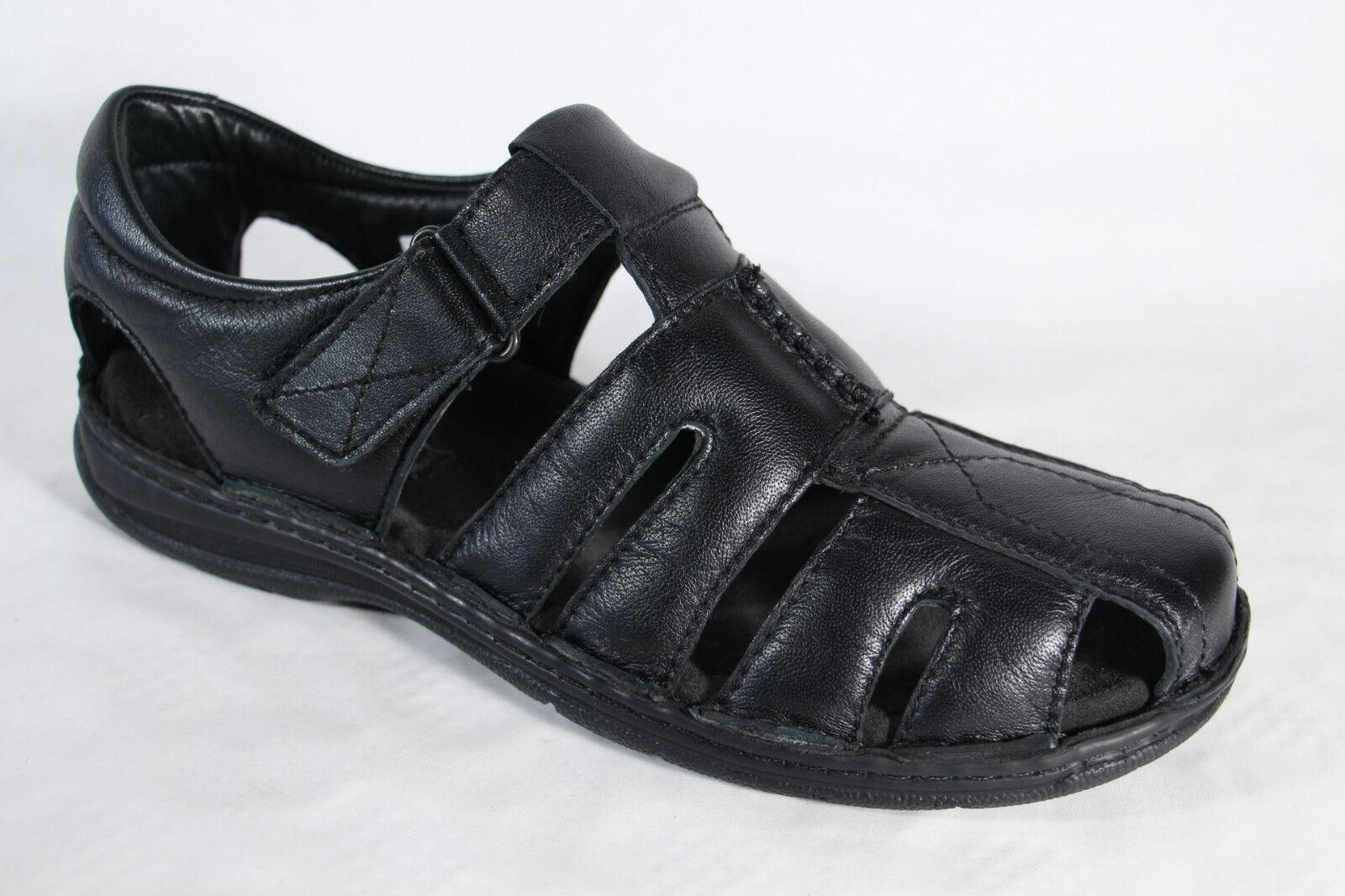 san francisco 7672a 80755 Manitu Herren Slipper Sneaker Leder schwarz, Klettverschluss NEU