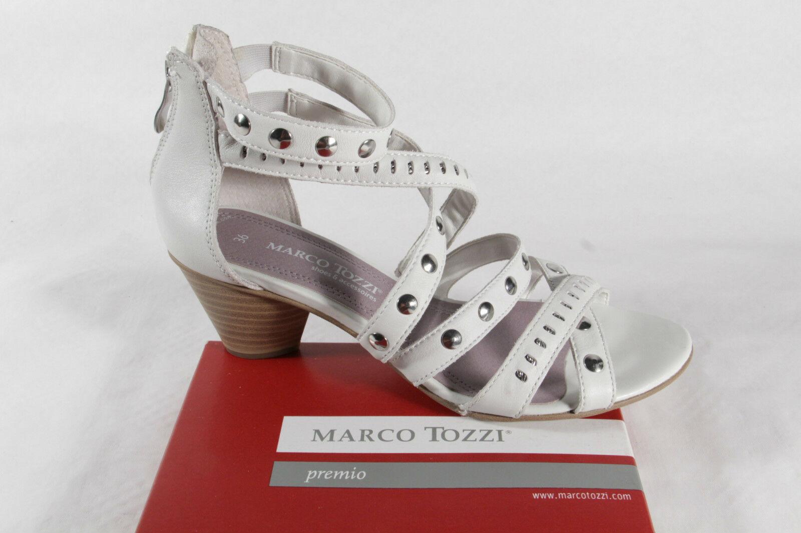 Marco Tozzi Damen Sandale, weiß  silber, Echtleder, Reißverschluß hinten NEU