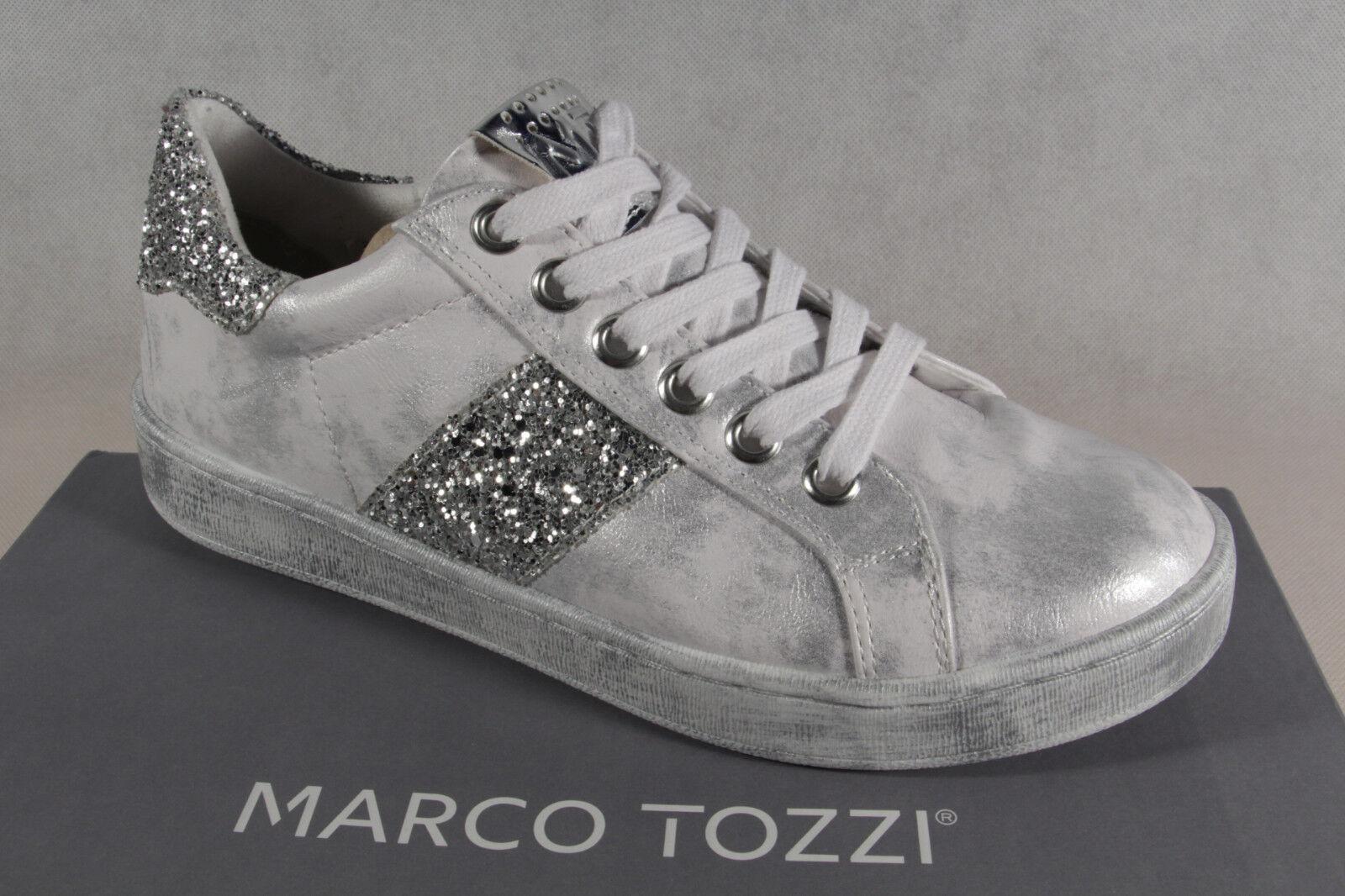 Marco Tozzi Schnürschuhe Sneakers Halbschuhe weiß silber 23737 NEU!