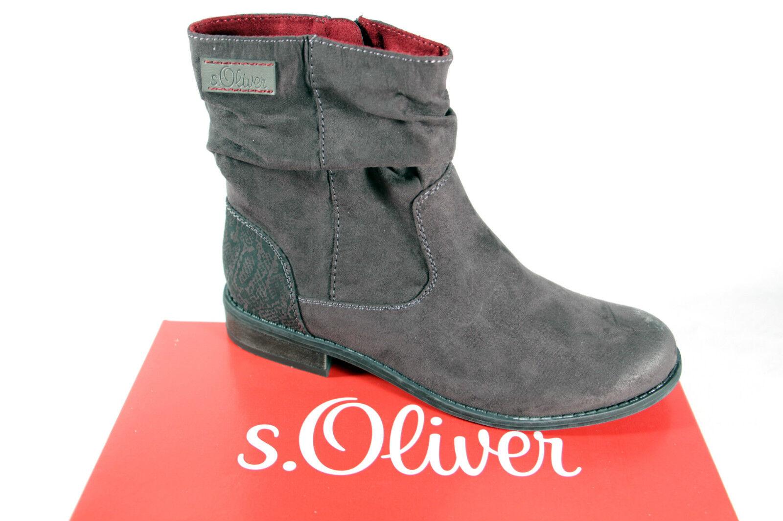 S.Oliver Stiefel, Stiefelette, Stiefel, grau, leicht gefüttert, Reißverschluß NEU