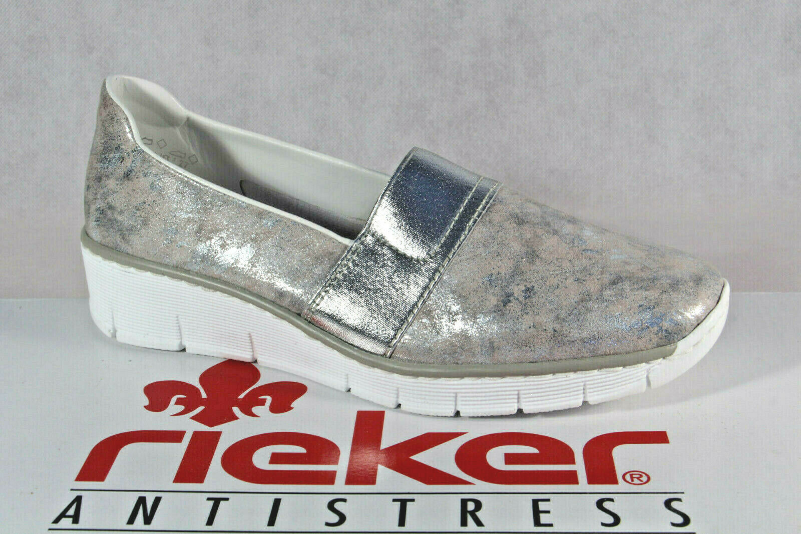 Rieker Slipper Turnschuhe Halbschuhe Sportschuhe Ballerina silber 53781 NEU