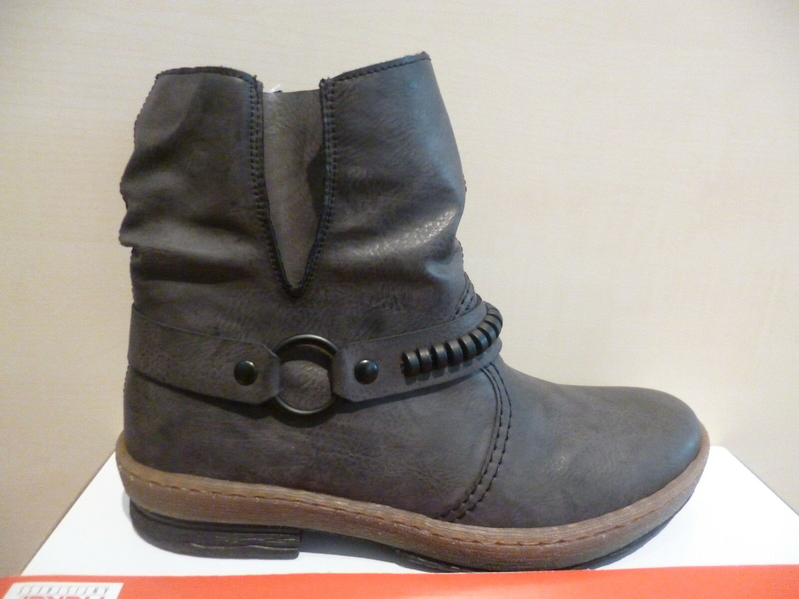 de8c3f3b8652 Rieker Damen Stiefel Stiefeletten Boots Winterstiefel grau Warmfutter Z6762  NEU 1 ...