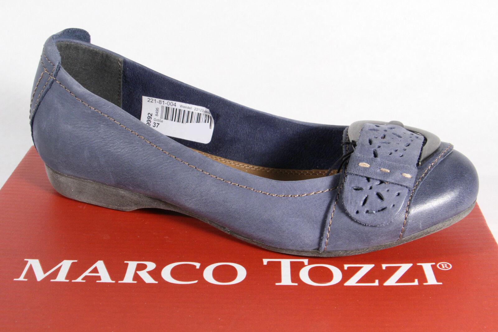 Marco Tozzi Ballerina Slipper blau Echtleder NEU