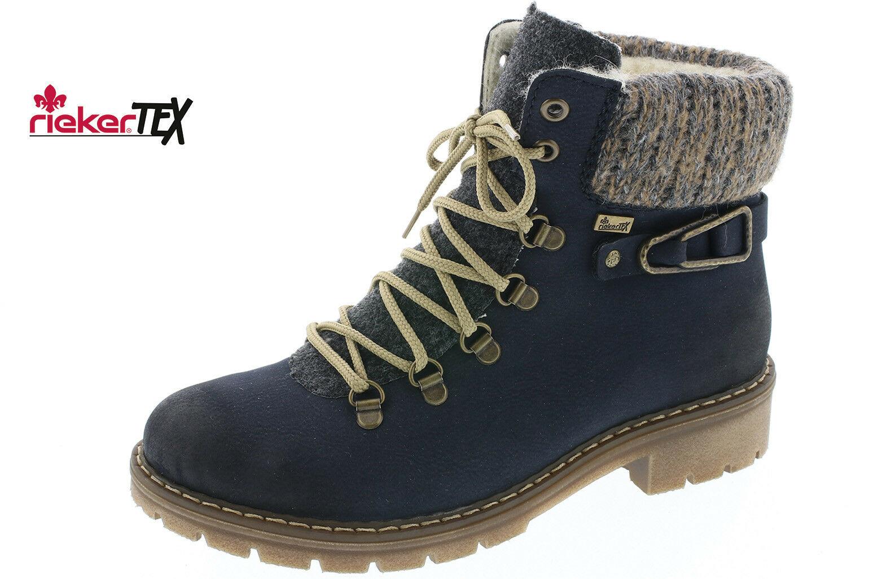 Rieker Damen Stiefel Stiefeletten Schnürstiefel Boots blau Y9131 NEU!