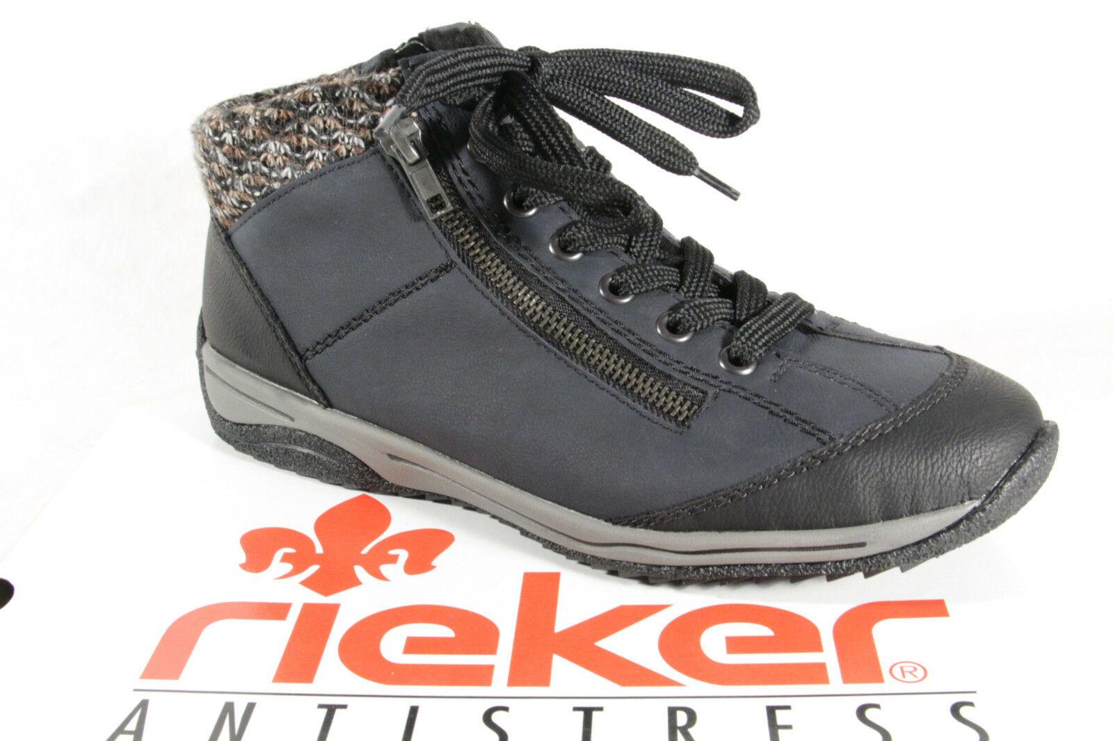 Rieker L5223 Damen Stiefel Stiefelette Schnürschuhe, Sneaker blau NEU! bd10658fd9
