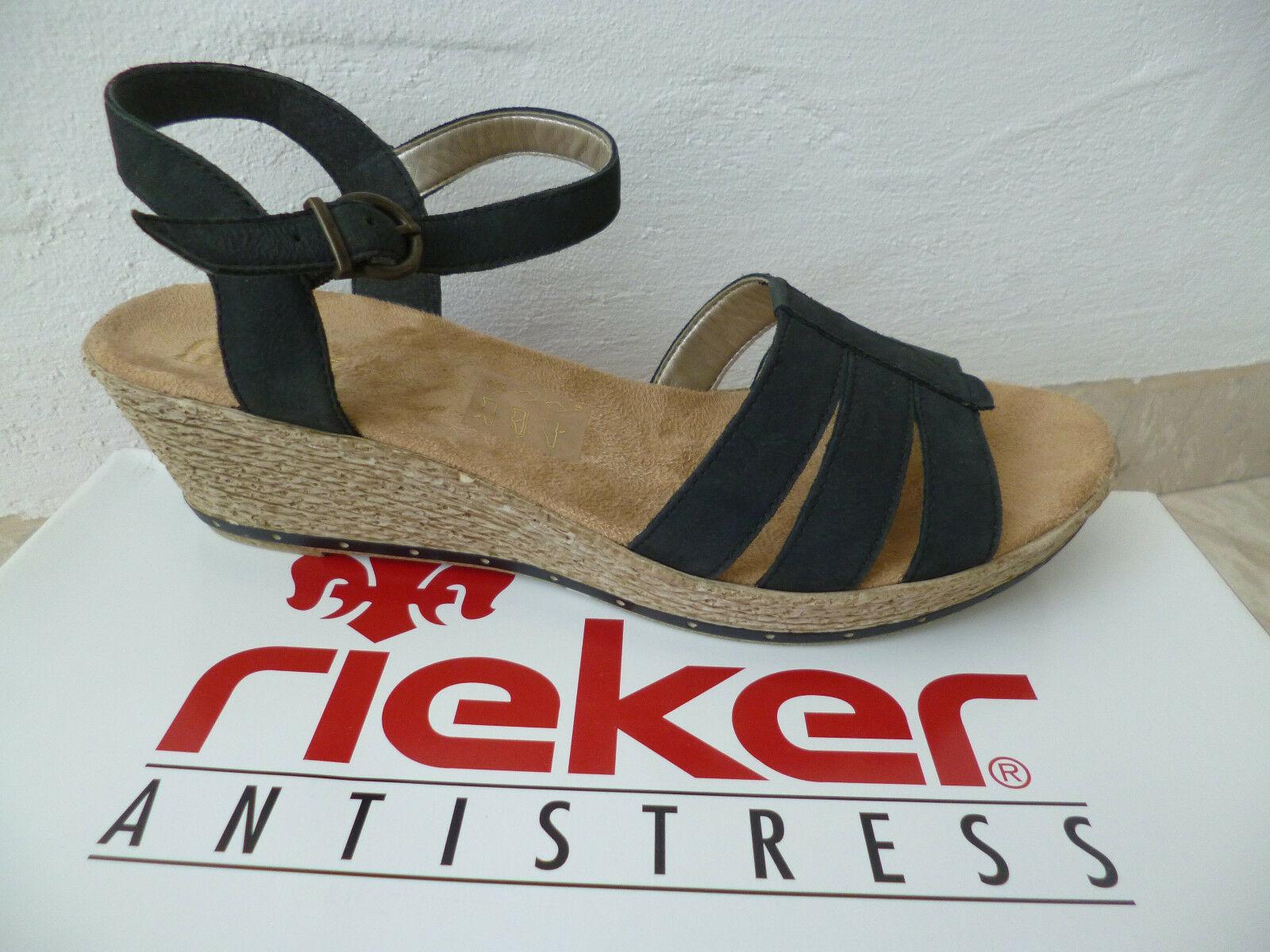 Rieker Damen Sandale Sandalette Keilabsatz schwarz Leder NEU