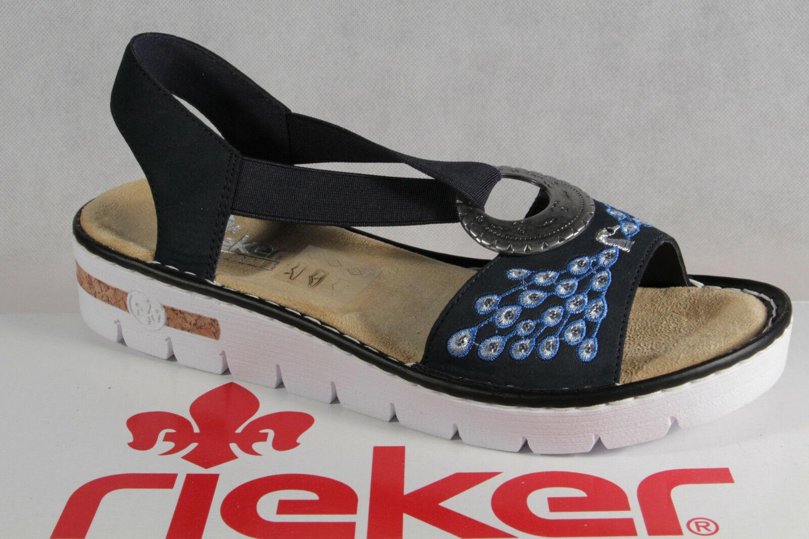 Rieker Damen Sandalen Sandaletten Sandale Pantoletten blau NEU