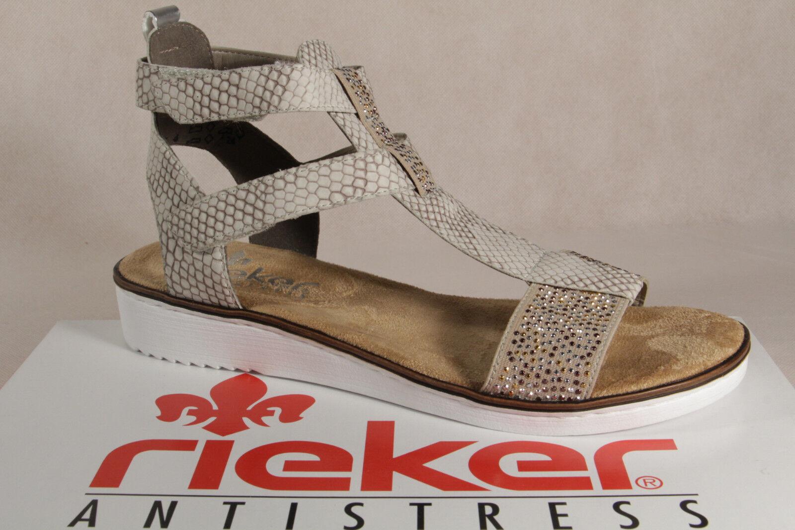 Rieker Damen Sandalen Sandaletten beige multi weiche Innensohle KV 63661 NEU