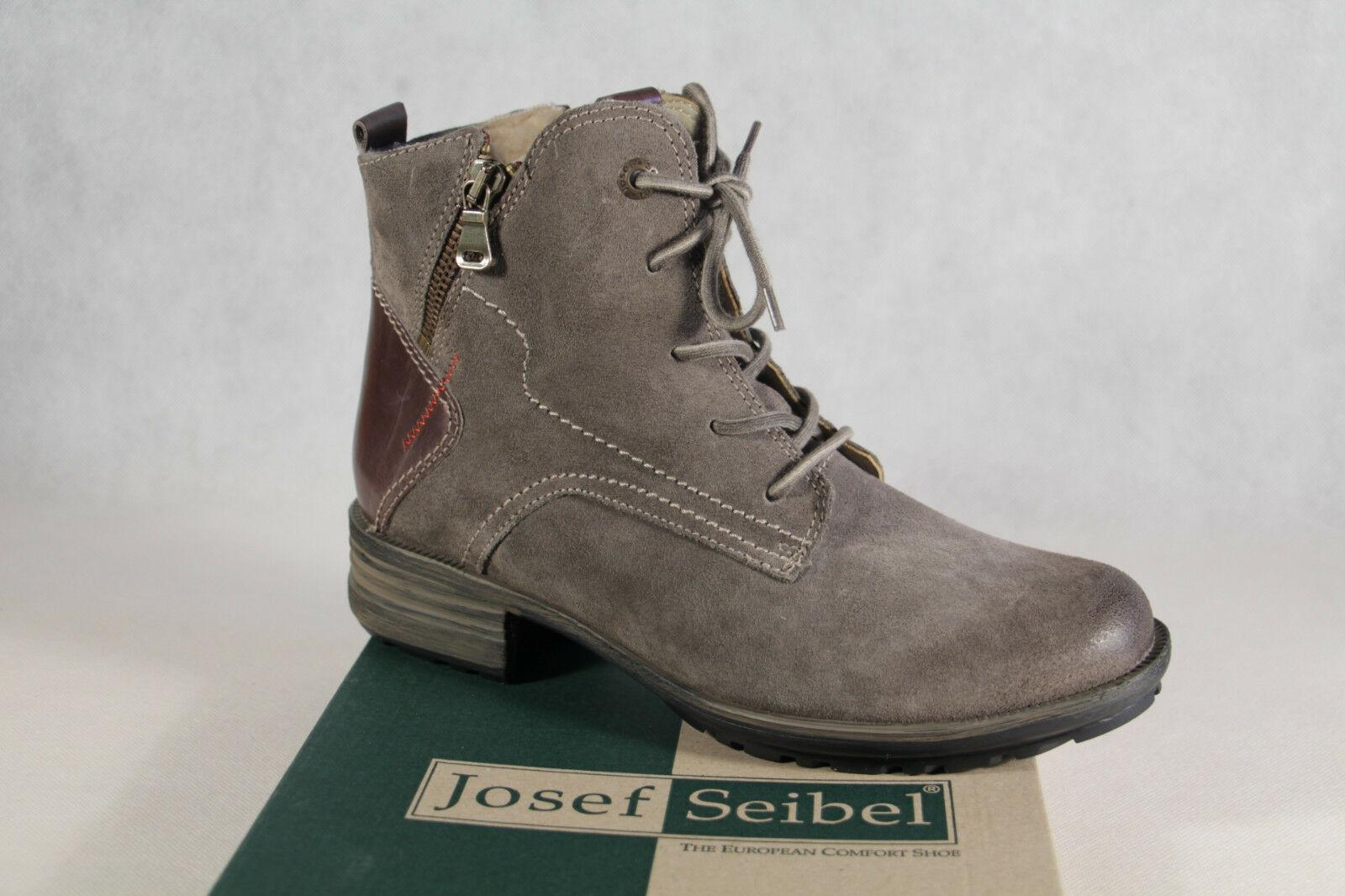 Josef Seibel Stiefel Stiefelette Schnürstiefel mit RV grau gefüttert 9389 NEU