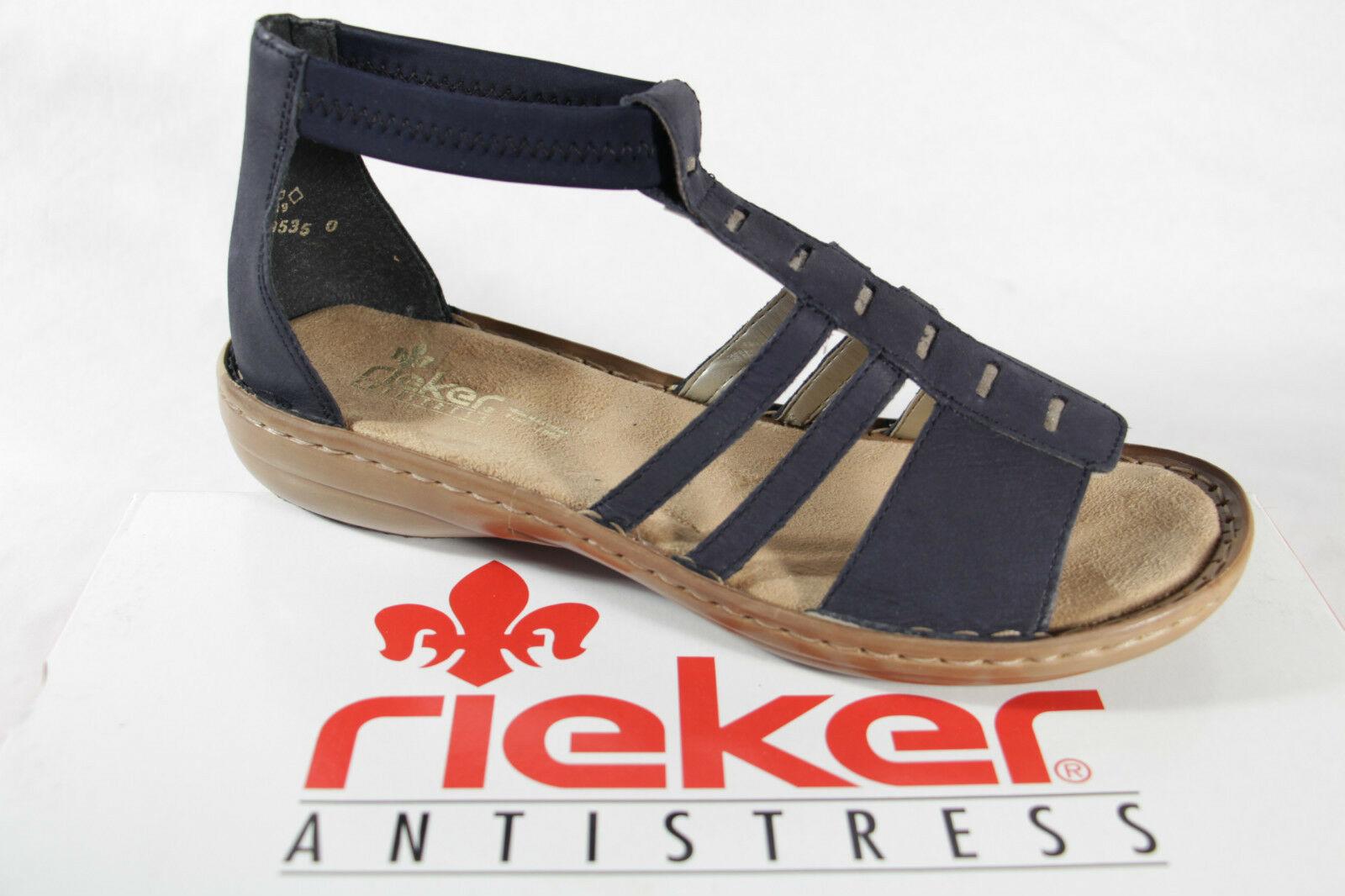 Rieker Damen Sandale Sandalen Sandalette blau, weiche Innensohle NEU