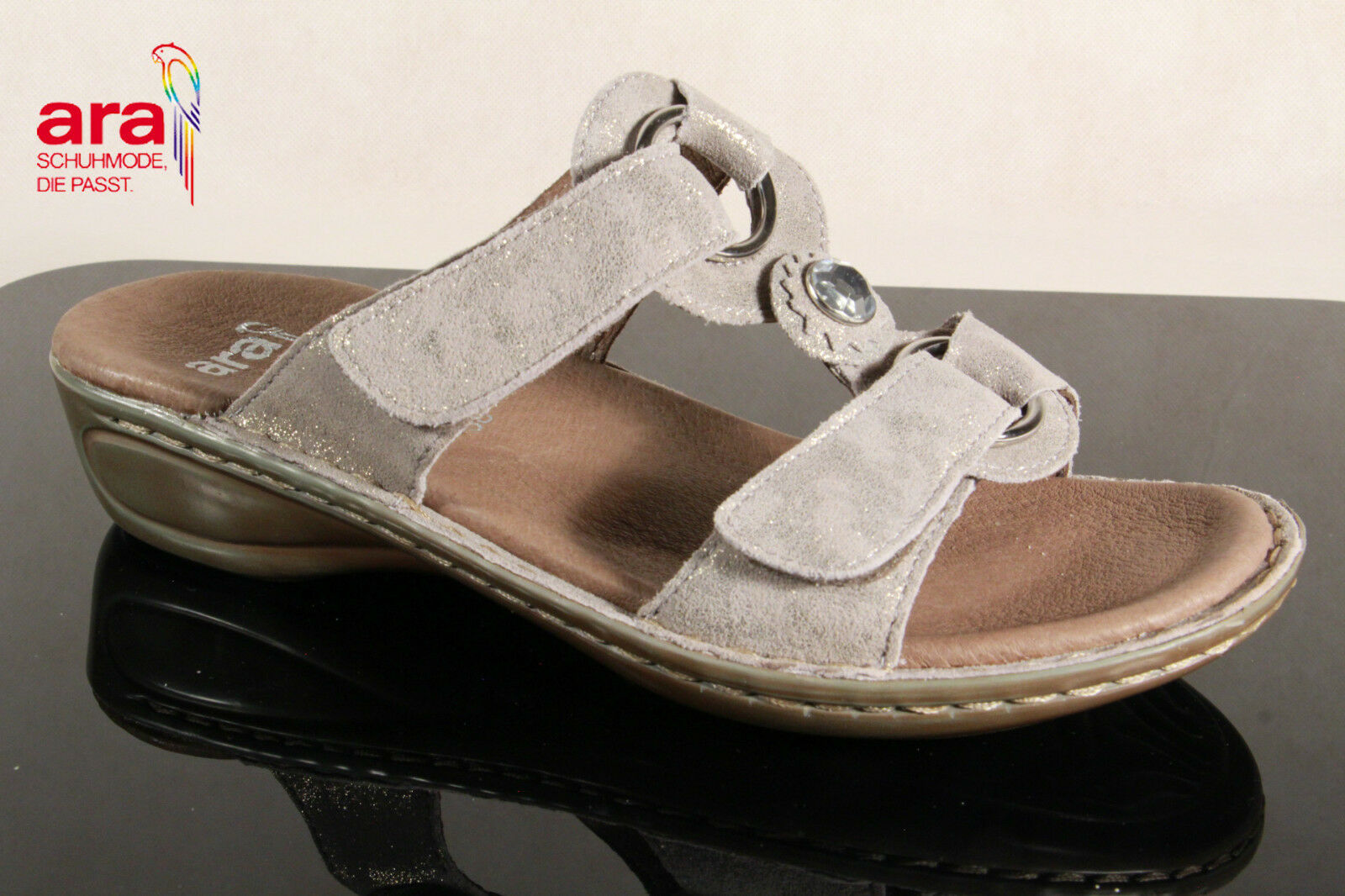 Ara Pantoletten Pantolette Pantoffel Clogs Hausschuhe Echtleder grau grau grau 27273 NEU  2e08b2