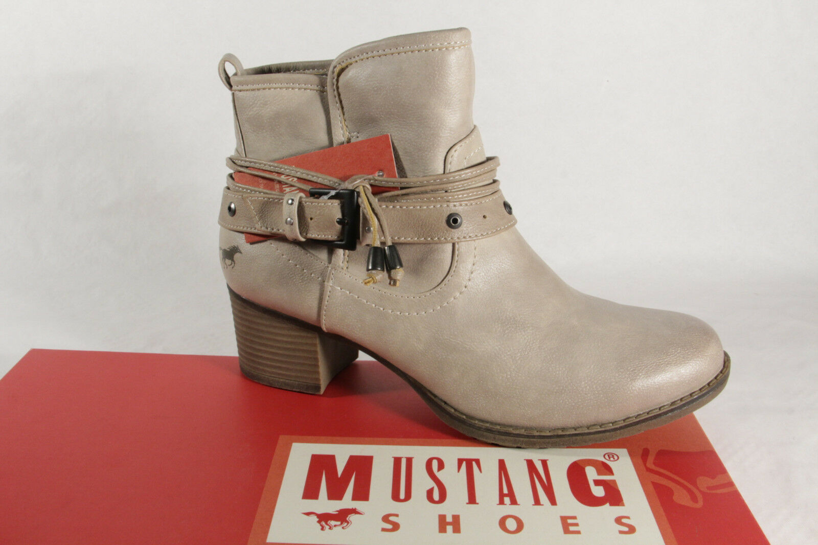 Mustang 1197 Damen Stiefel Stiefeletten mit Reißverschluss beige NEU