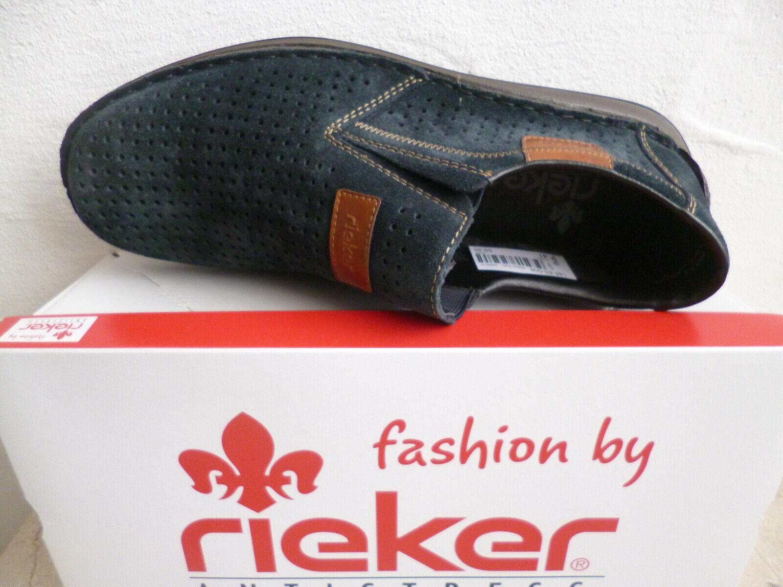 Rieker Slipper Sneakers Sportschuhe Halbschuhe blau Echtleder Velour NEU