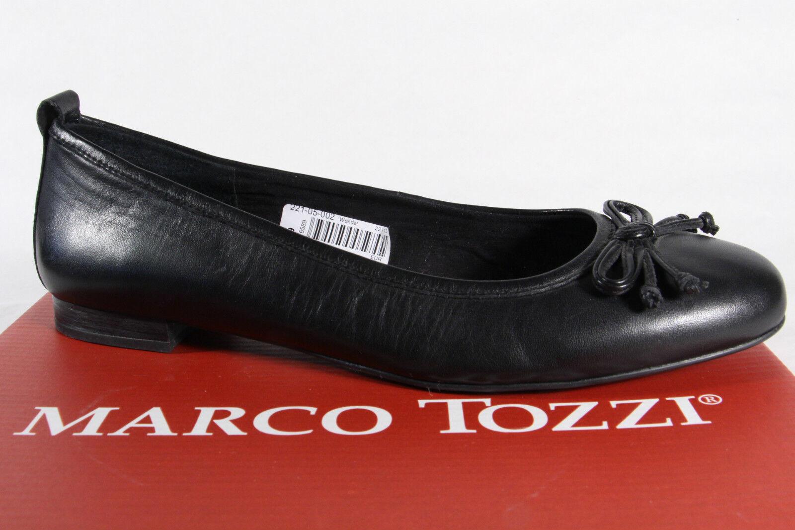 Marco Tozzi Slipper Ballerina Pumps schwarz Echtleder, weiche Innensohle NEU