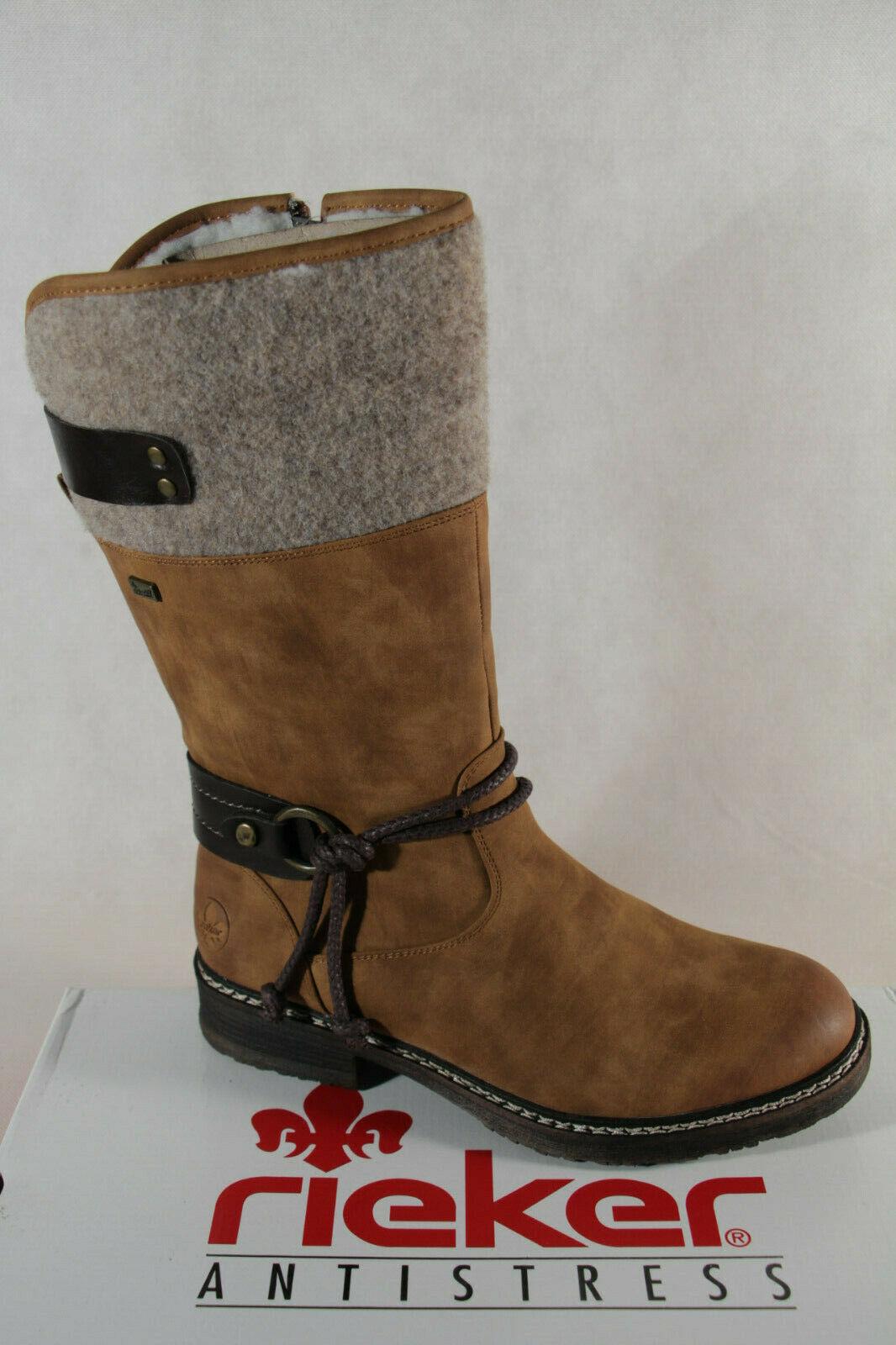 Rieker TEX Damen Boots Stiefel Winterschuhe Schnürschuhe Schuhe gefüttert blau
