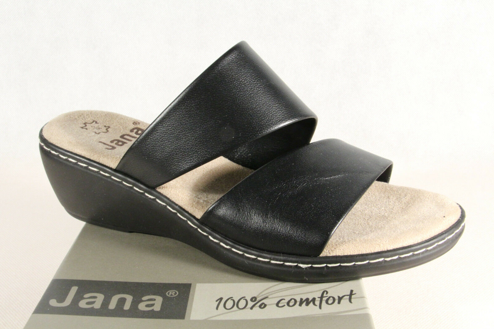 Jana Damen Pantolette Sandalen Sandaletten schwarz, Weite G 27505 NEU