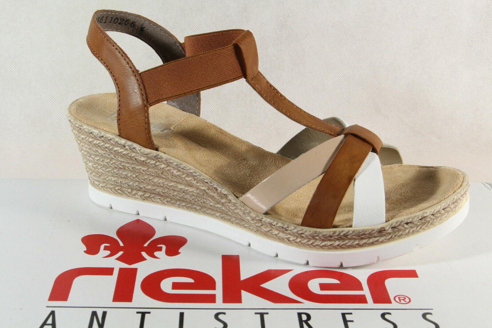 Rieker Damen Sandalen Sandaletten weiss weiche Innensohle