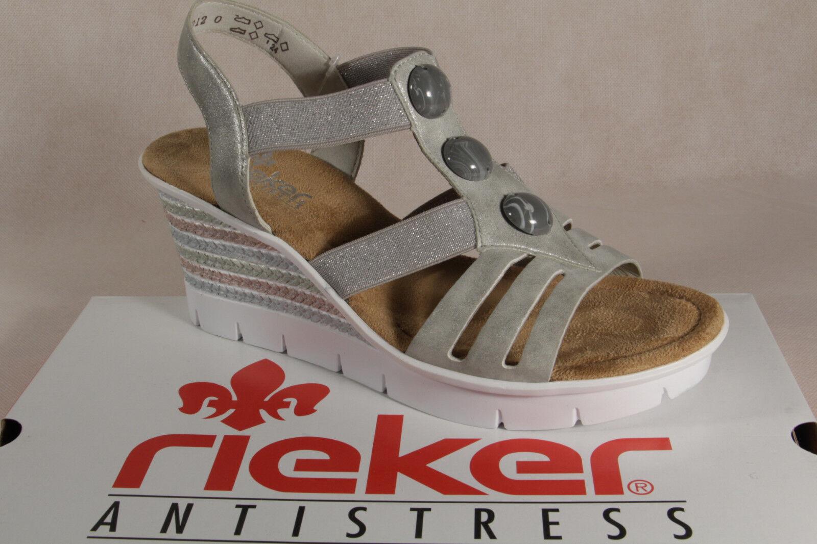 Rieker Damen Sandale, Sandalen Sandaletten grau weiche Innensohle, V6548 NEU