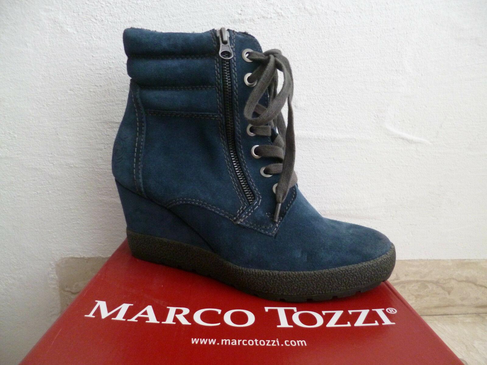 Marco Tozzi Damen Stiefelette Stiefel Winterstiefel Stiefel blau Leder NEU