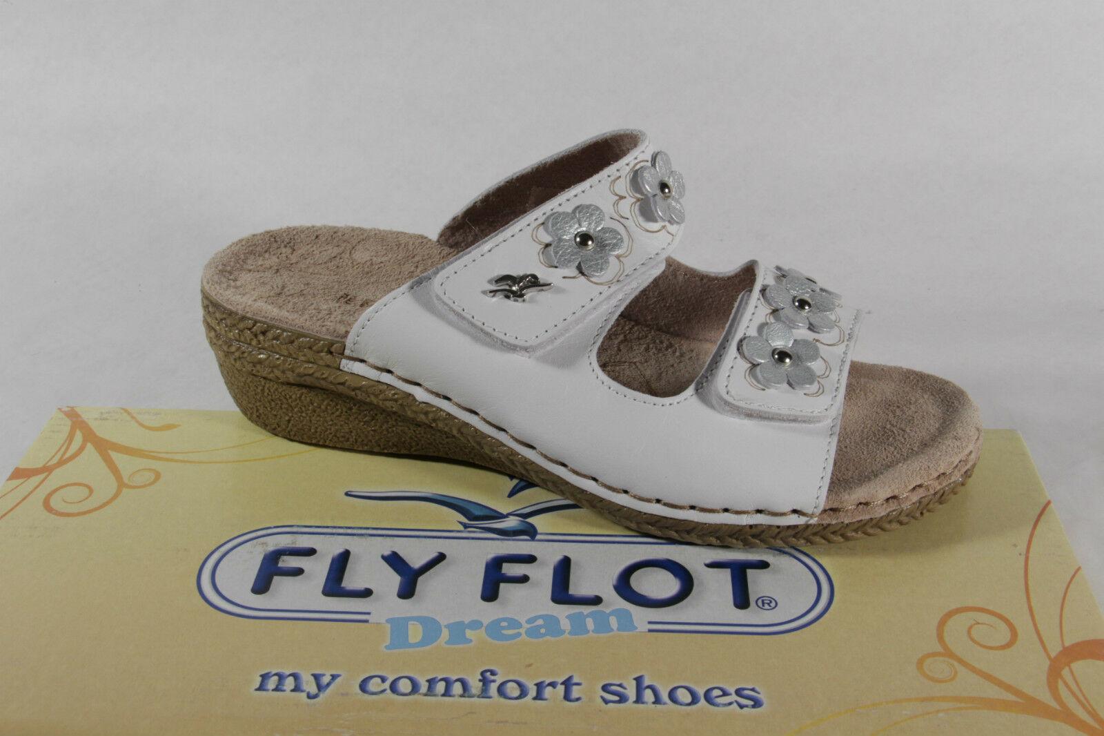 Fly Flot Flot Fly Damen Pantoletten Pantoffel Hausschuhe Leder weiß Klettverschluß NEU  9101b8