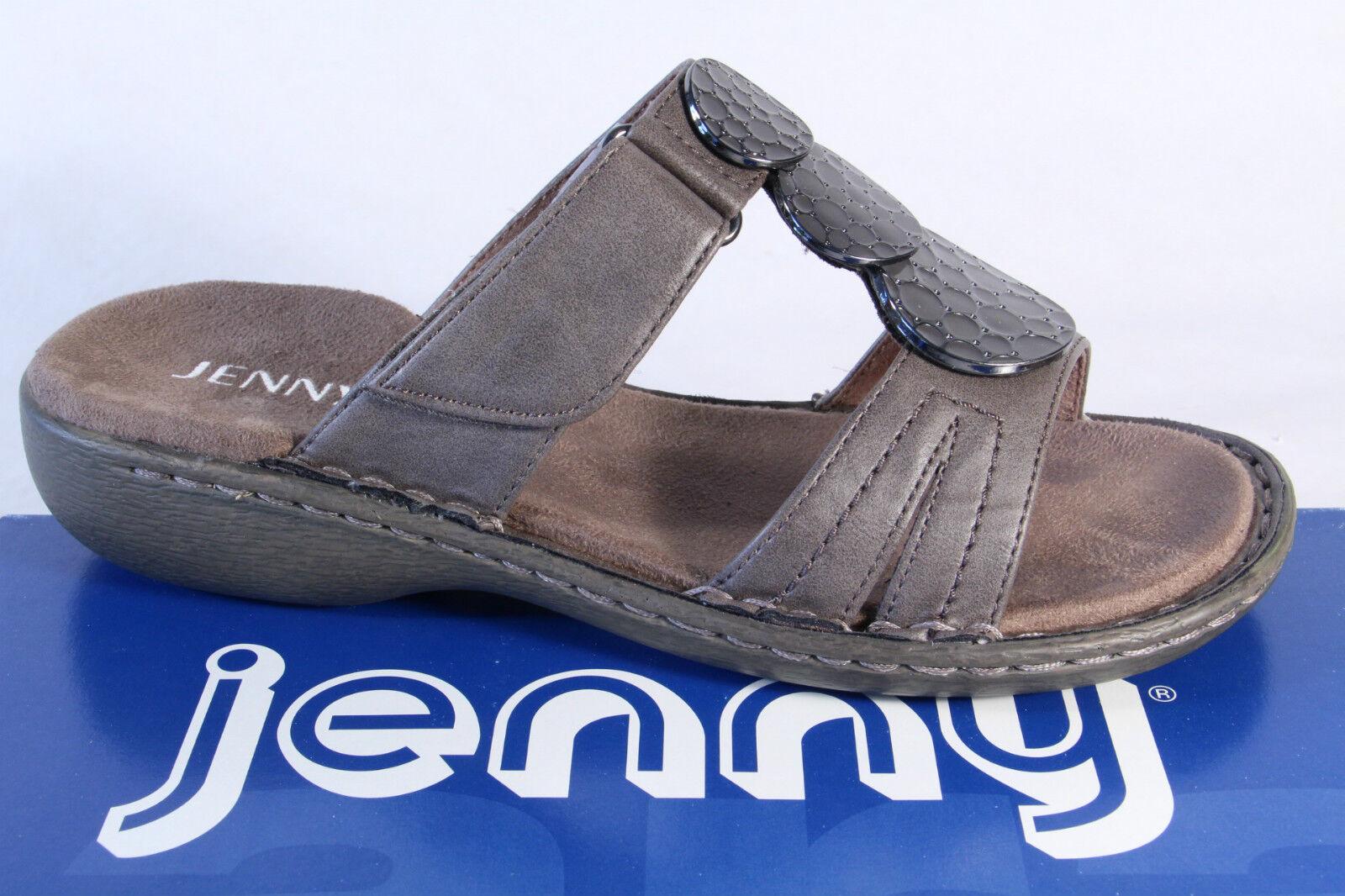 Jenny Pantolette, Leder, grau, Klettverschluß NEU