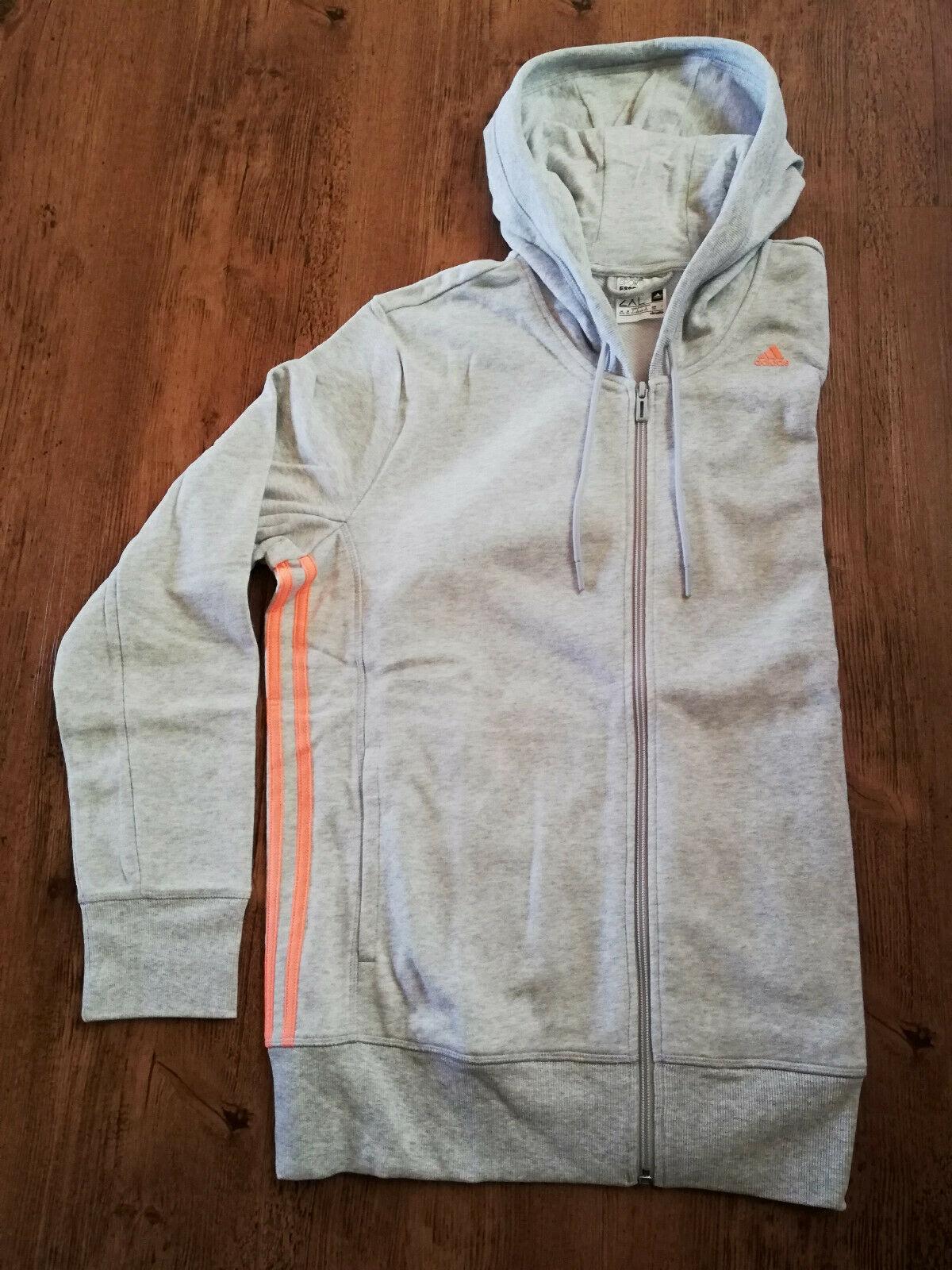 Adidas Kapuzenjacke Sweatjacke Jacke Sport Damen grau orange