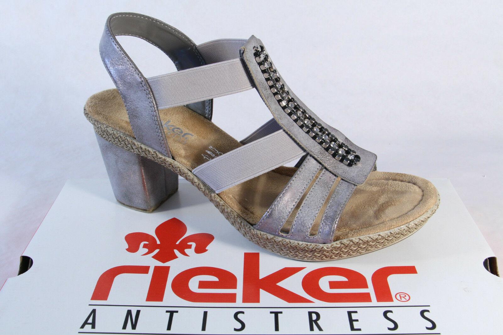 Rieker Damen Sandale Sandalette Sandalen grau, weiche InnensohleNEU
